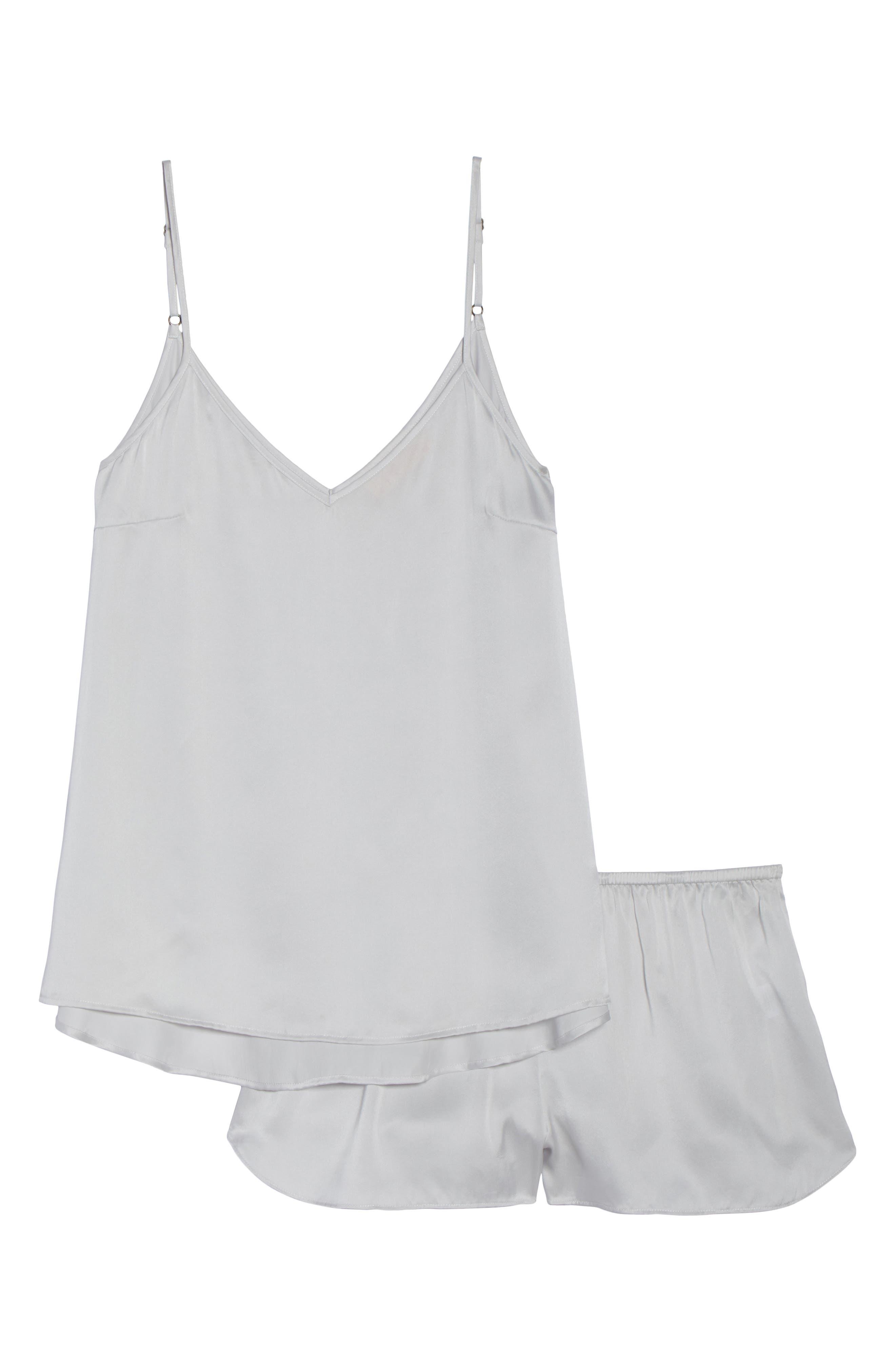 Short Silk Pajamas,                             Alternate thumbnail 6, color,                             ICE GREY
