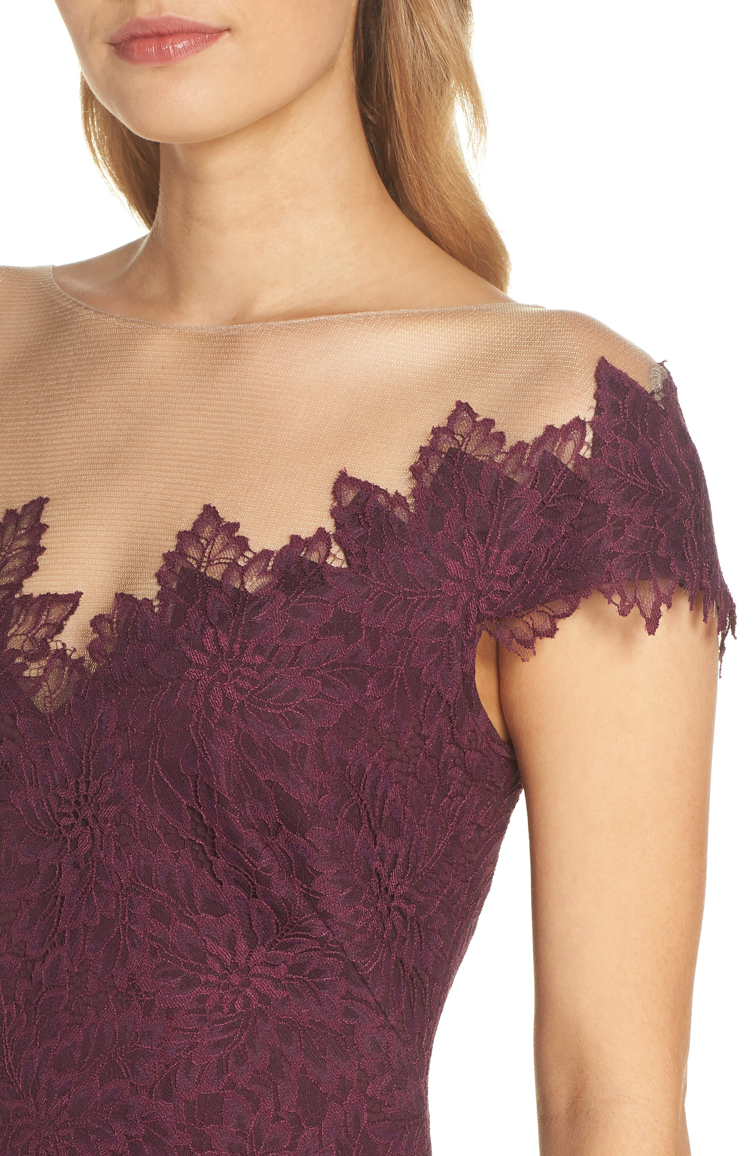 Lace Embellished Body-Con Dress,                             Alternate thumbnail 4, color,                             510