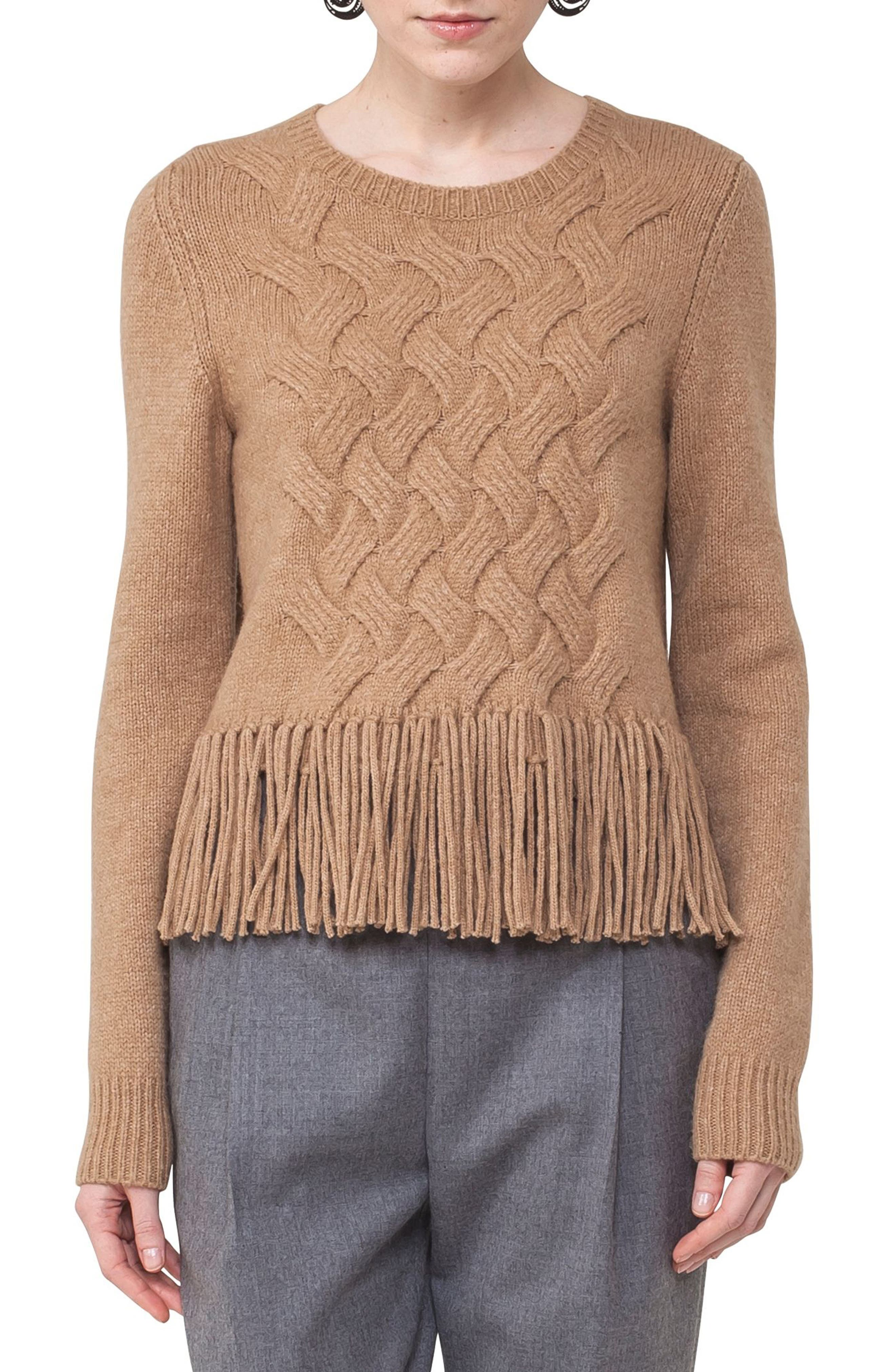 Fringe Cable Knit Wool Blend Pullover,                         Main,                         color, 200