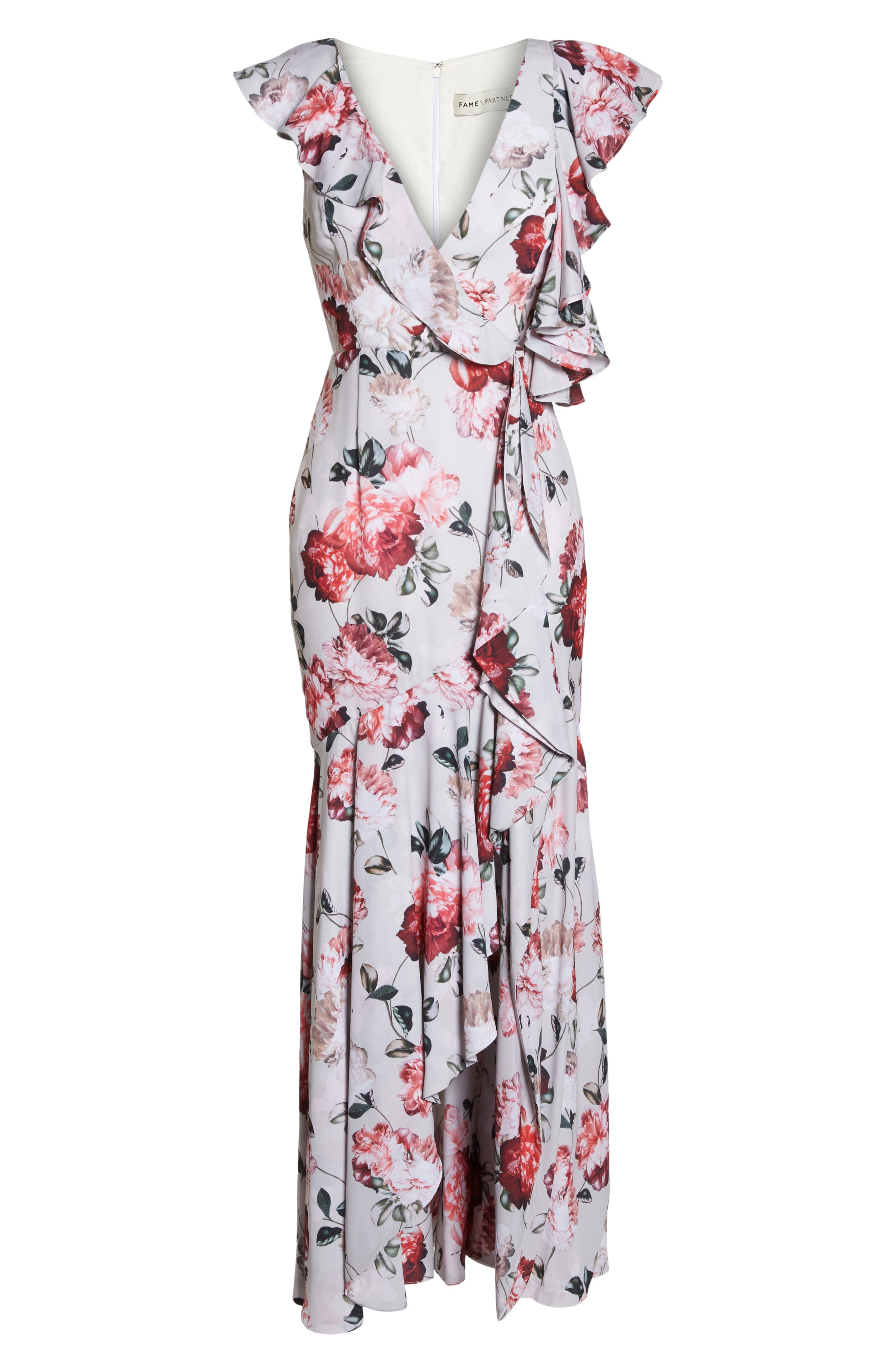 Beckman Floral Georgette Ruffle Maxi Dress,                             Alternate thumbnail 6, color,                             BLUSHING BLOOMS
