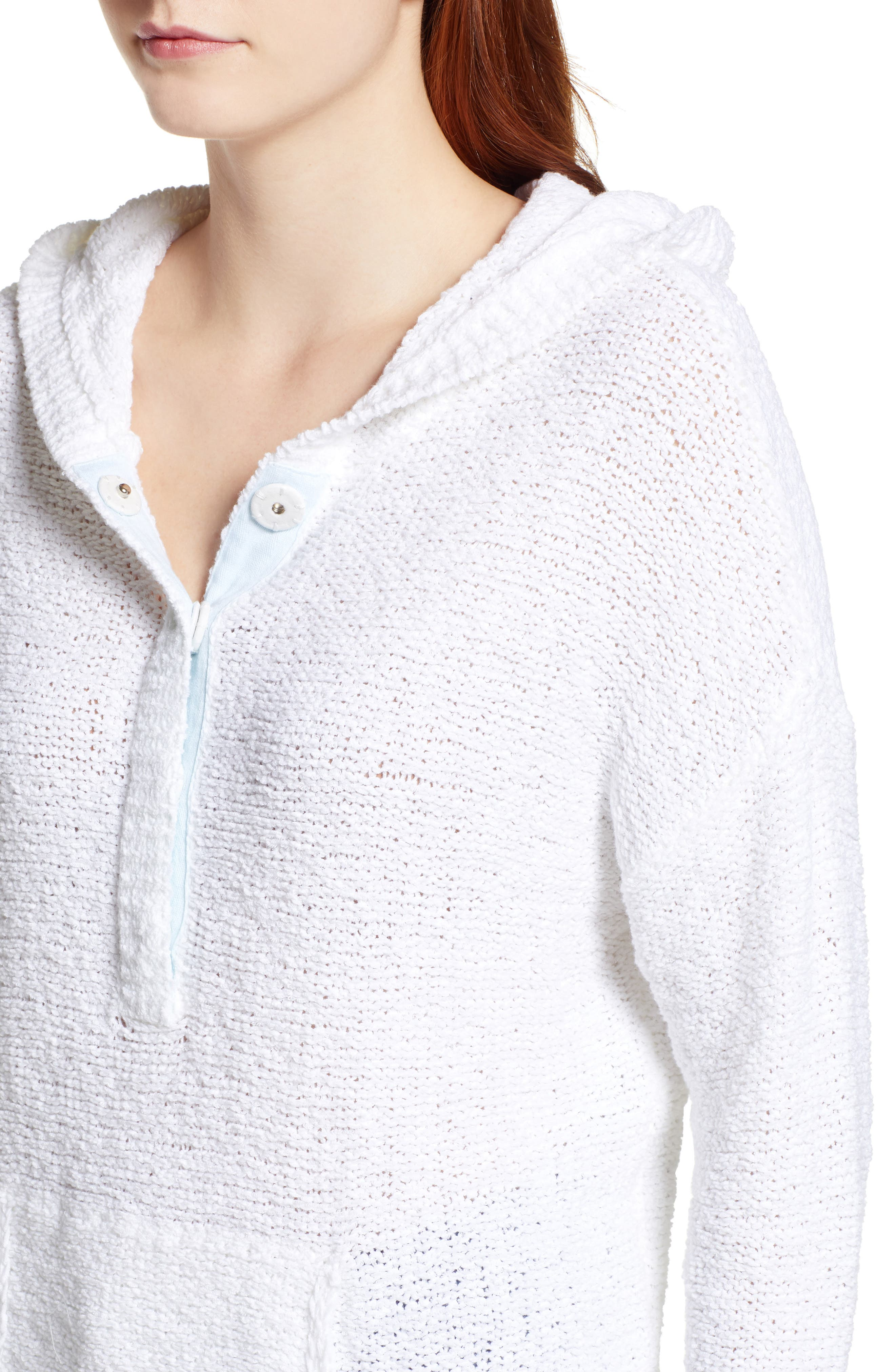 Beachy Hooded Knit Sweater,                             Alternate thumbnail 4, color,                             WHITE