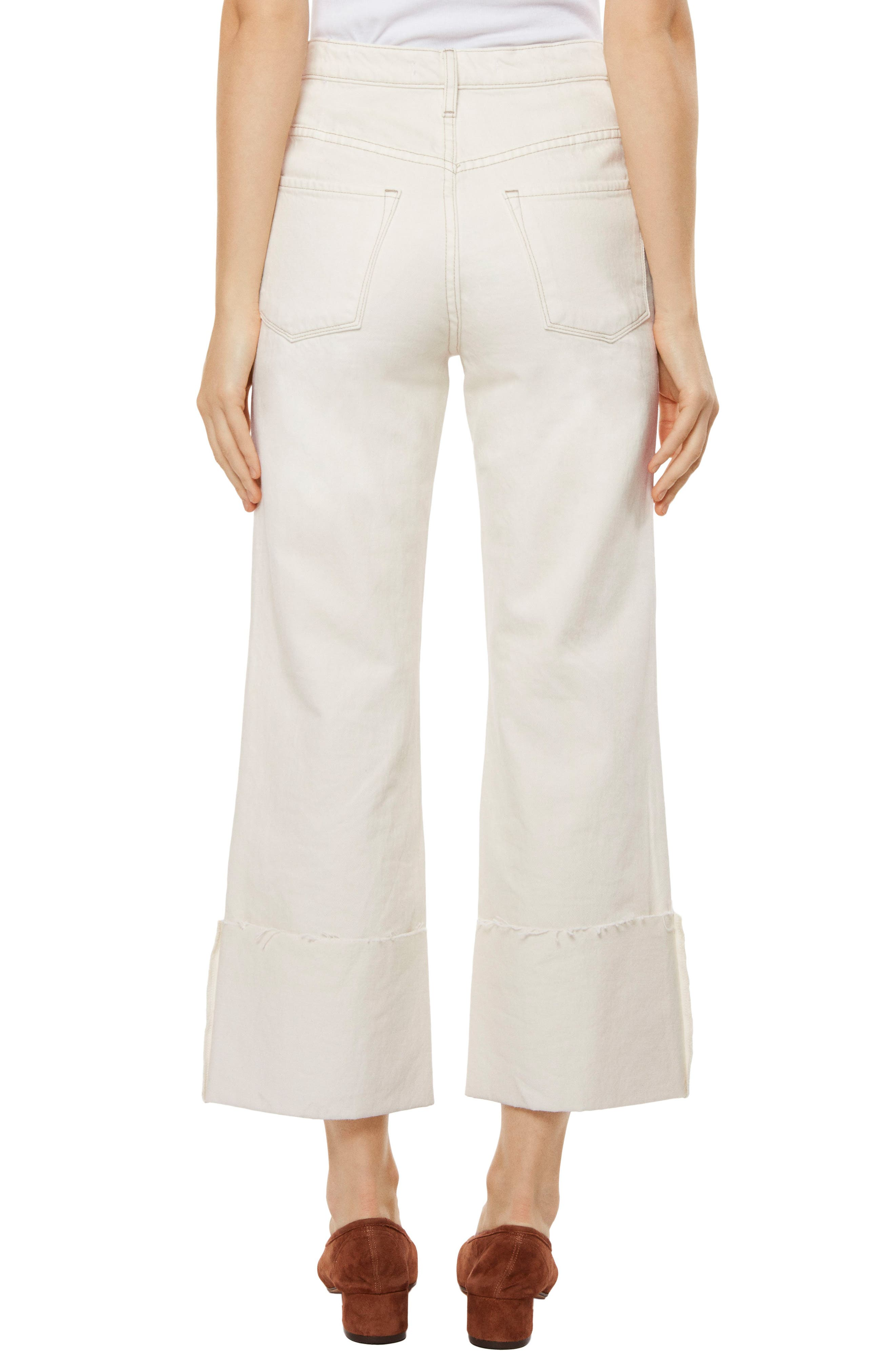 Joan High Waist Crop Wide Leg Jeans,                             Alternate thumbnail 2, color,                             MACADAMIA