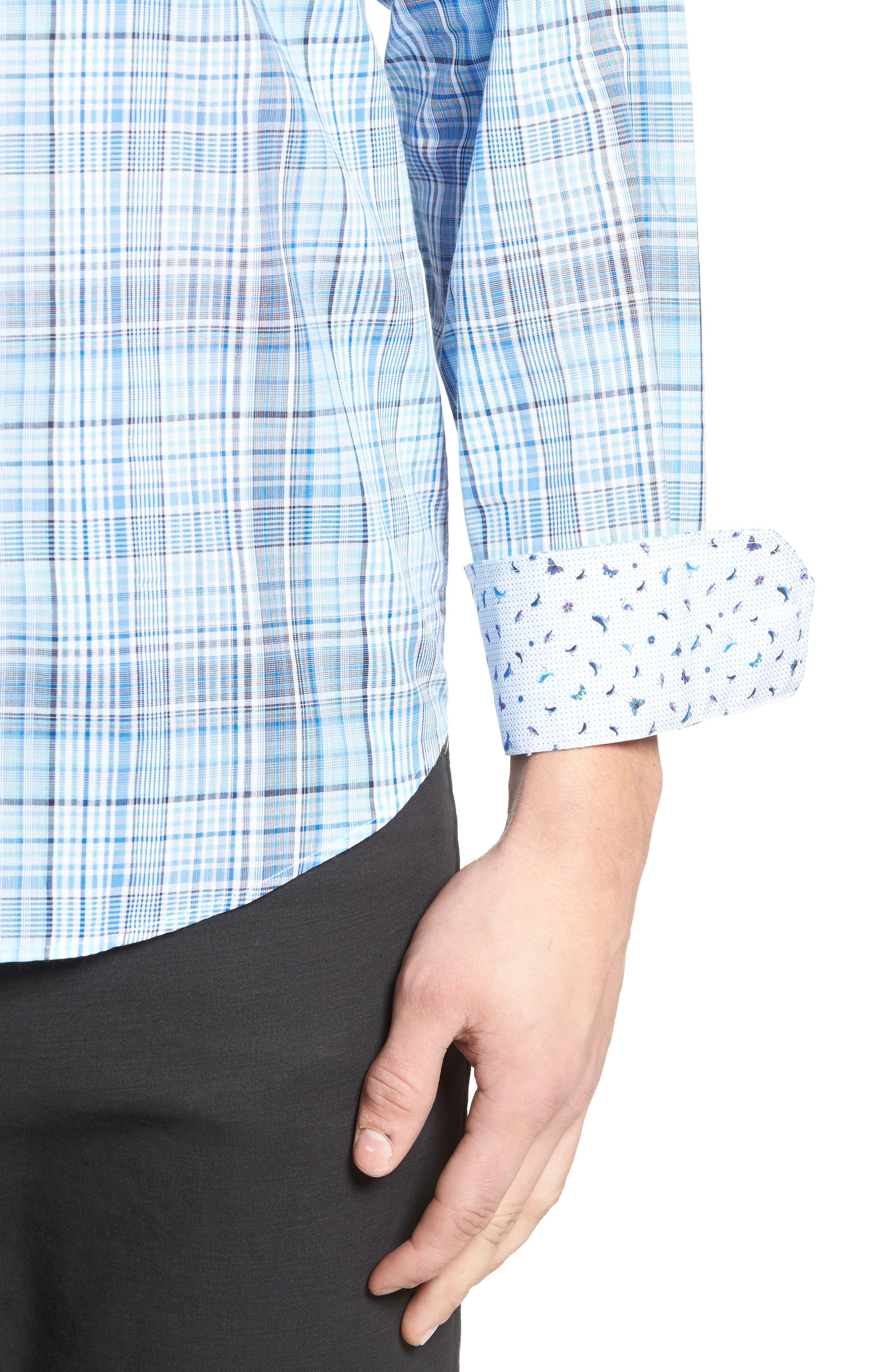 Classic Fit Plaid Sport Shirt,                             Alternate thumbnail 4, color,                             422