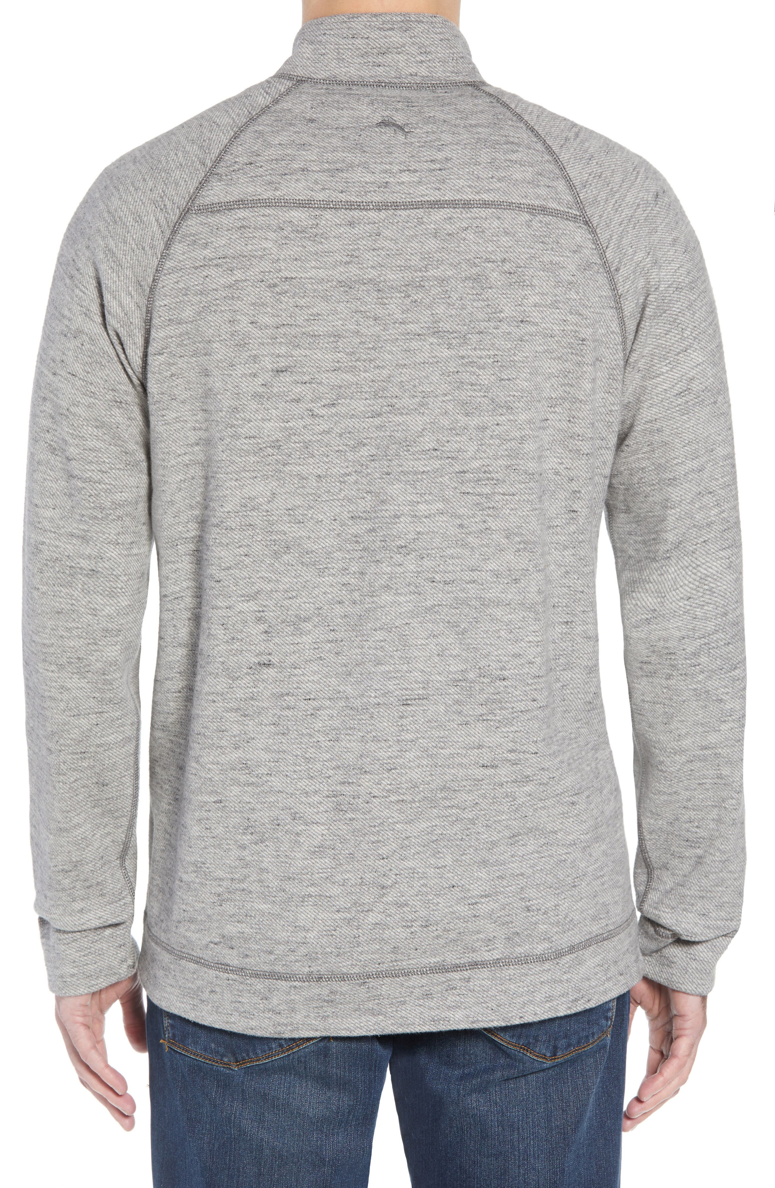 On the Doubles Mock Neck Quarter Zip Pullover,                             Alternate thumbnail 3, color,                             STEEL WOOL HEATHER