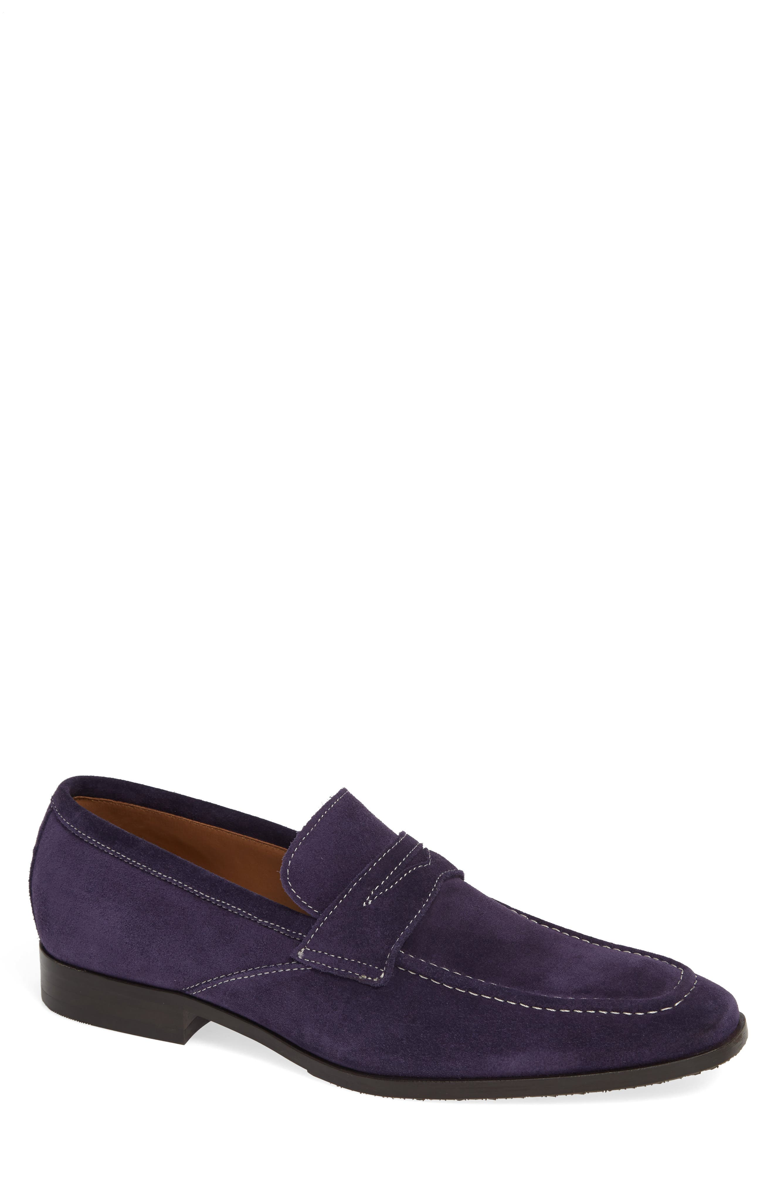 ROBERT TALBOTT Nicasio Apron Toe Penny Loafer in Purple Suede