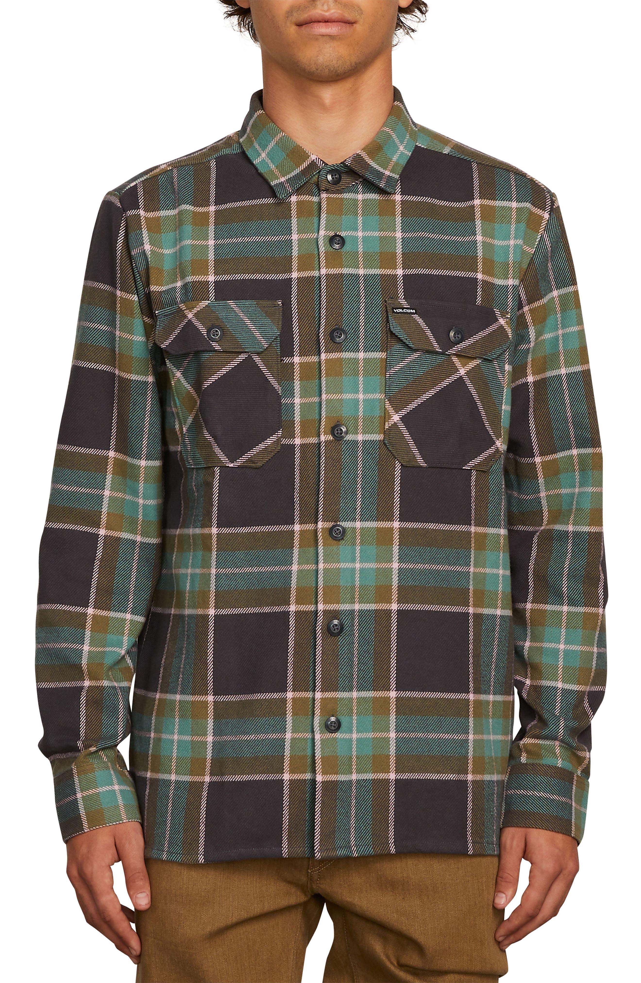 Volcom Randower Heavyweight Flannel Shirt, Green