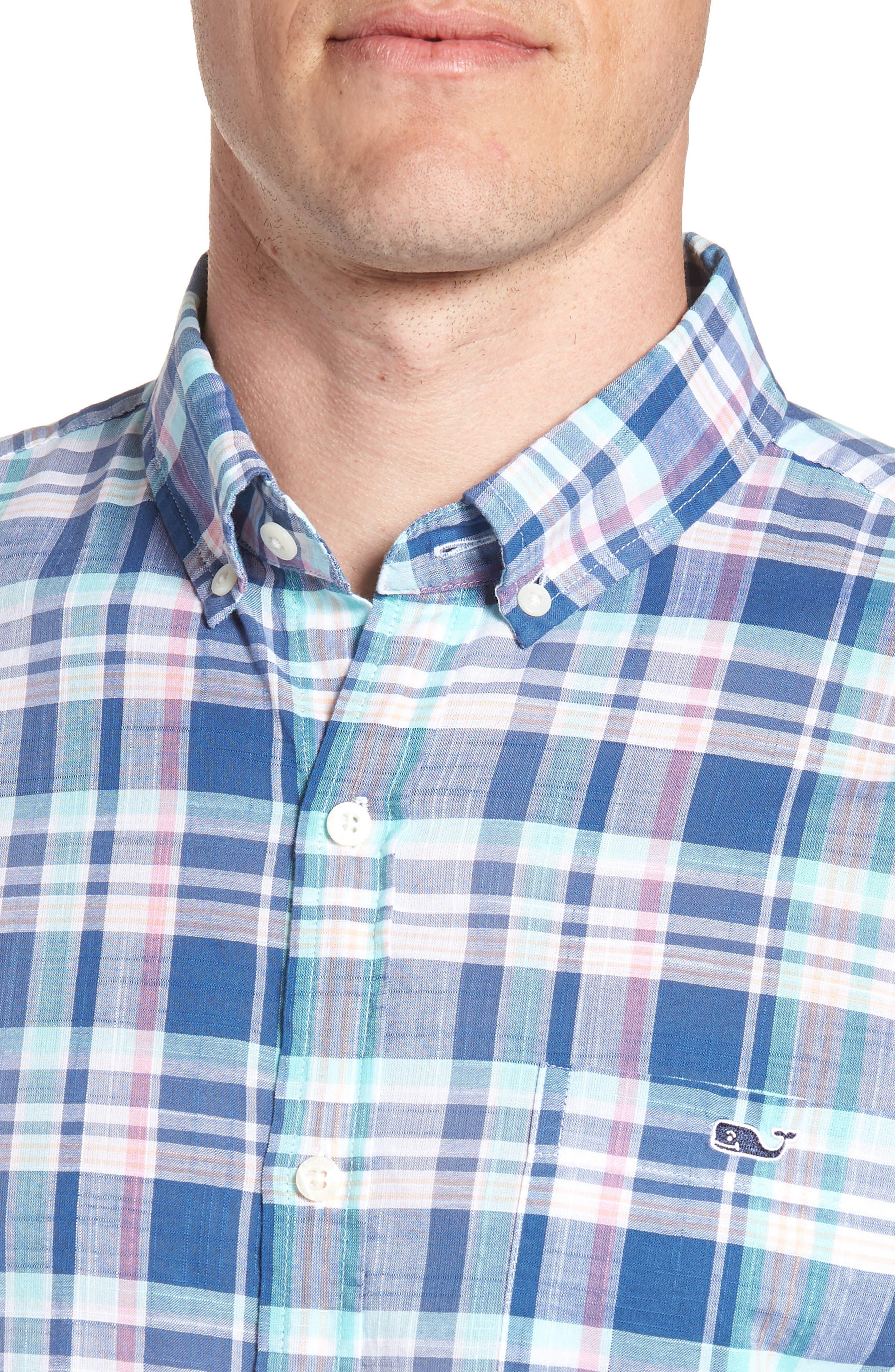 Primrose Plaid Slim Fit Tucker Sport Shirt,                             Alternate thumbnail 4, color,                             FLAG BLUE
