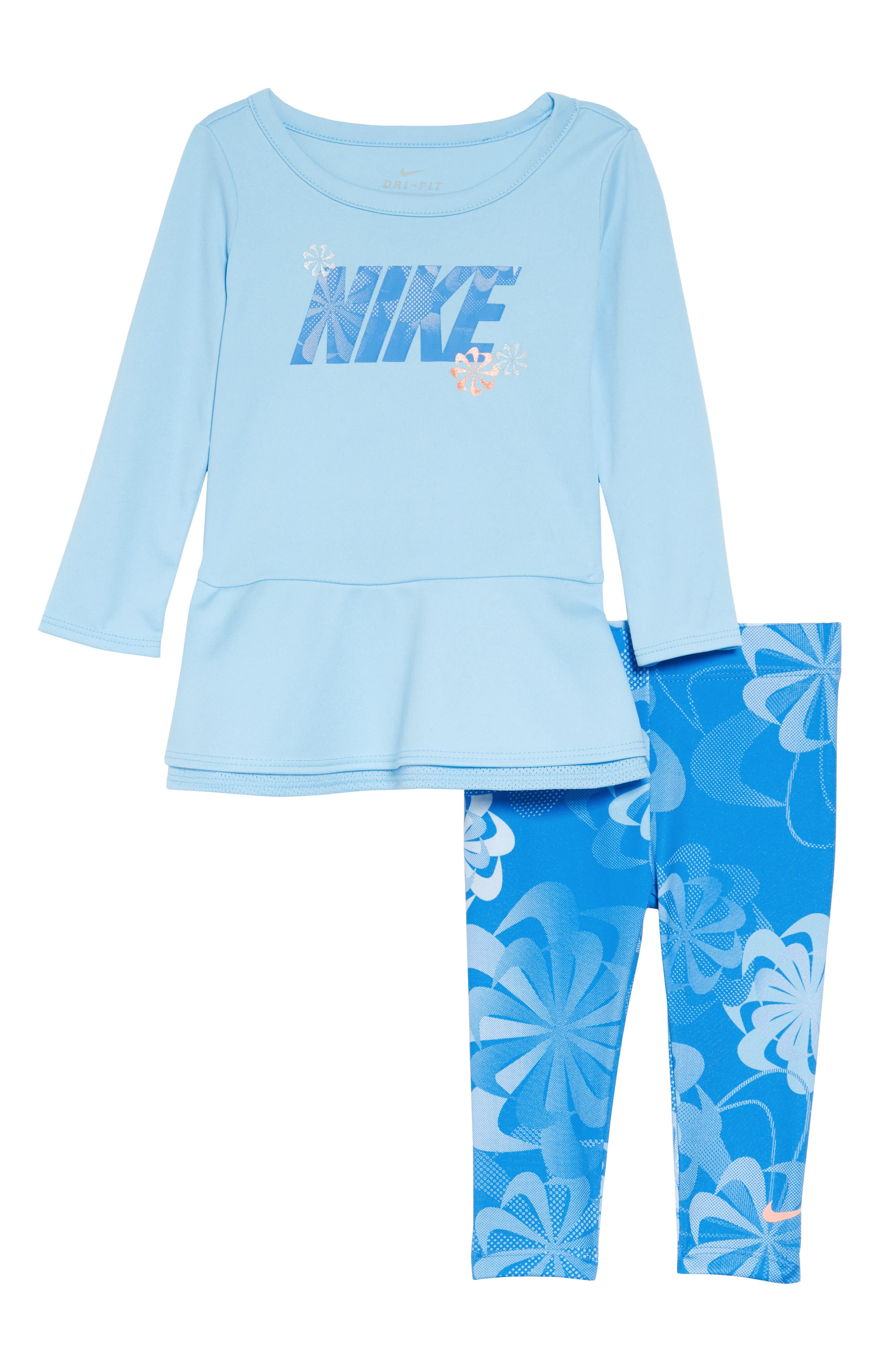 Infant Girls Nike Swoosh Peplum Tunic  Leggings Set