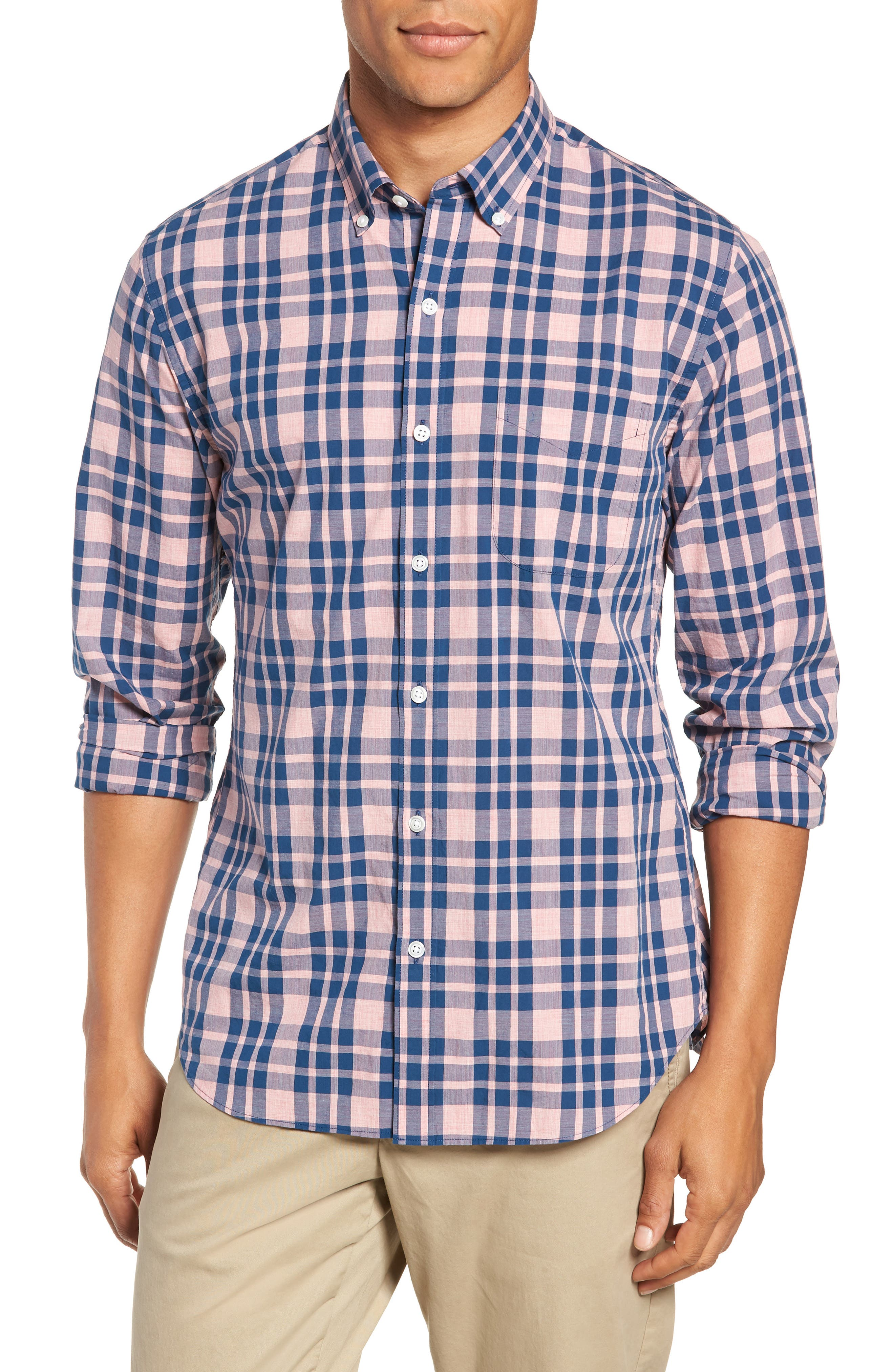 Summerweight Slim Fit Check Sport Shirt,                         Main,                         color, HARDY PLAID - HEATHER ROSE