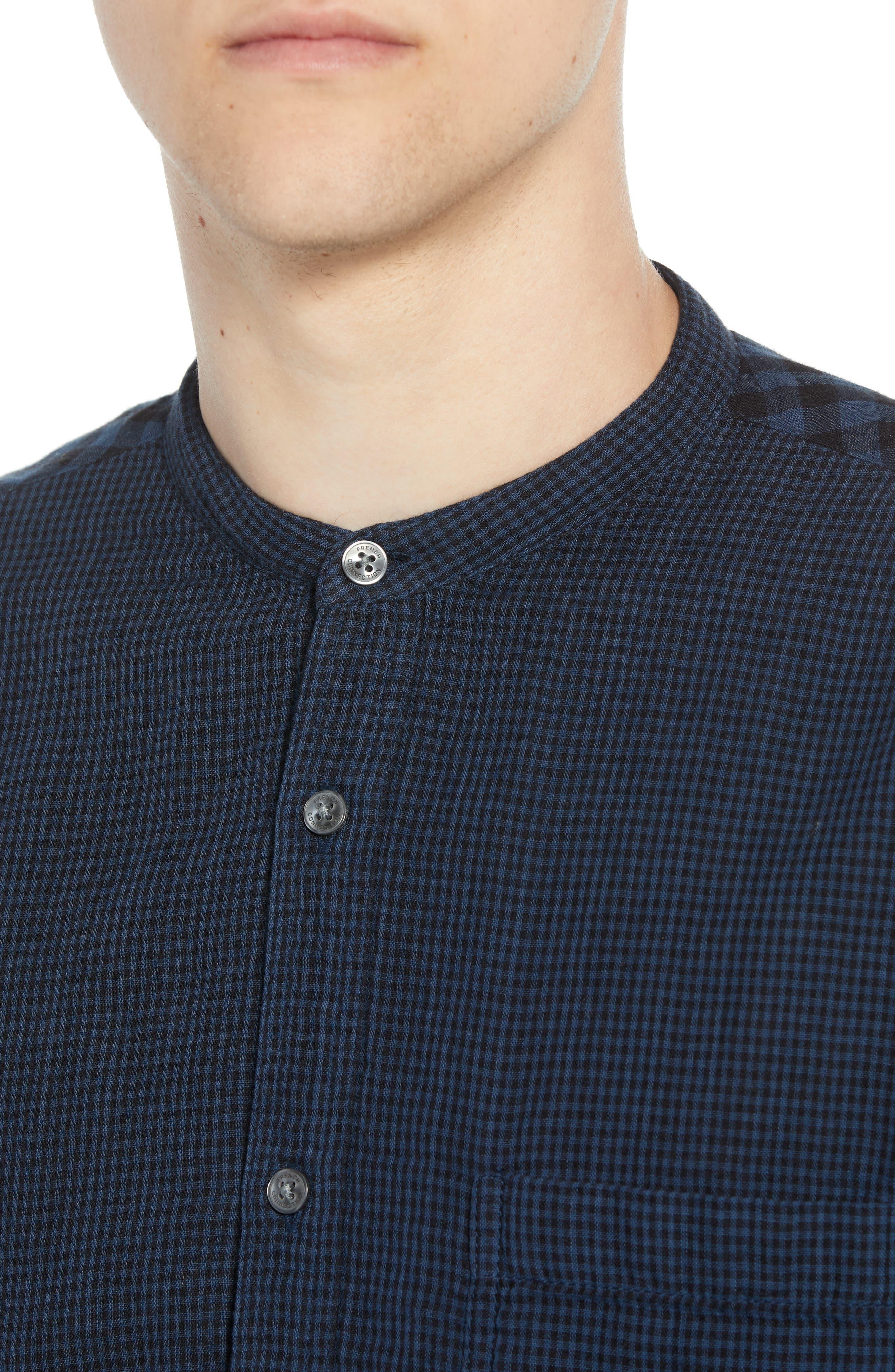Double Gingham Shirt,                             Alternate thumbnail 2, color,                             BLACK IRIS