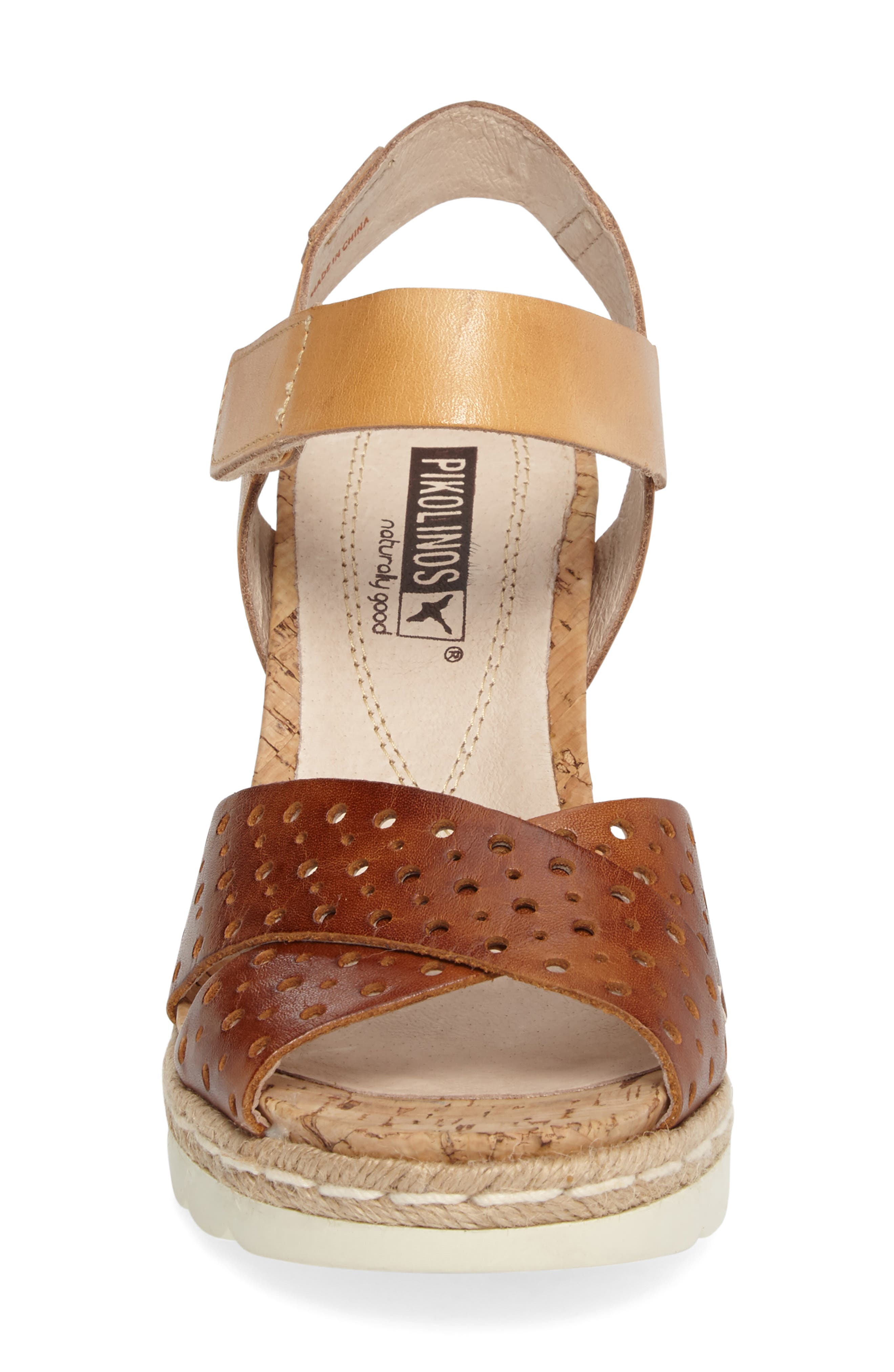 Bali Wedge Sandal,                             Alternate thumbnail 4, color,                             BRANDY CAMEL LEATHER