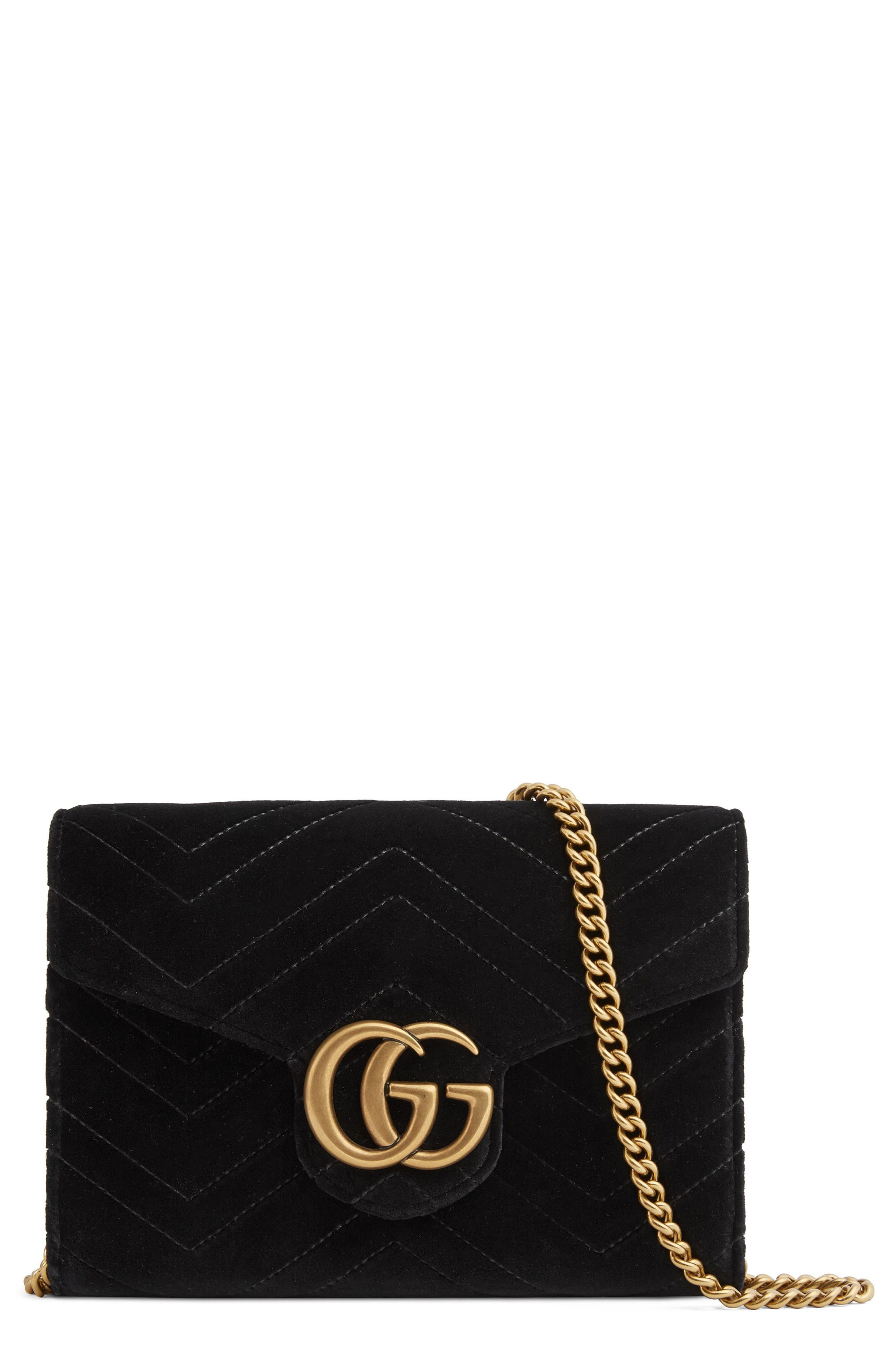 GG Marmont 2.0 Matelassé Velvet Wallet on a Chain,                         Main,                         color, NERO/ NERO