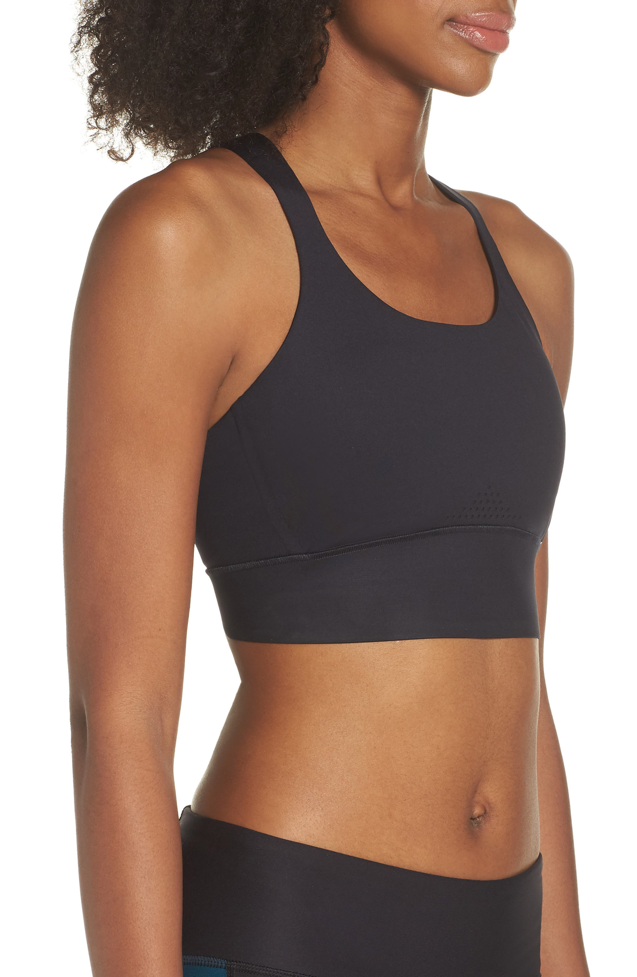 UNDER ARMOUR,                             Breathelux Perforated Sports Bra,                             Alternate thumbnail 4, color,                             001