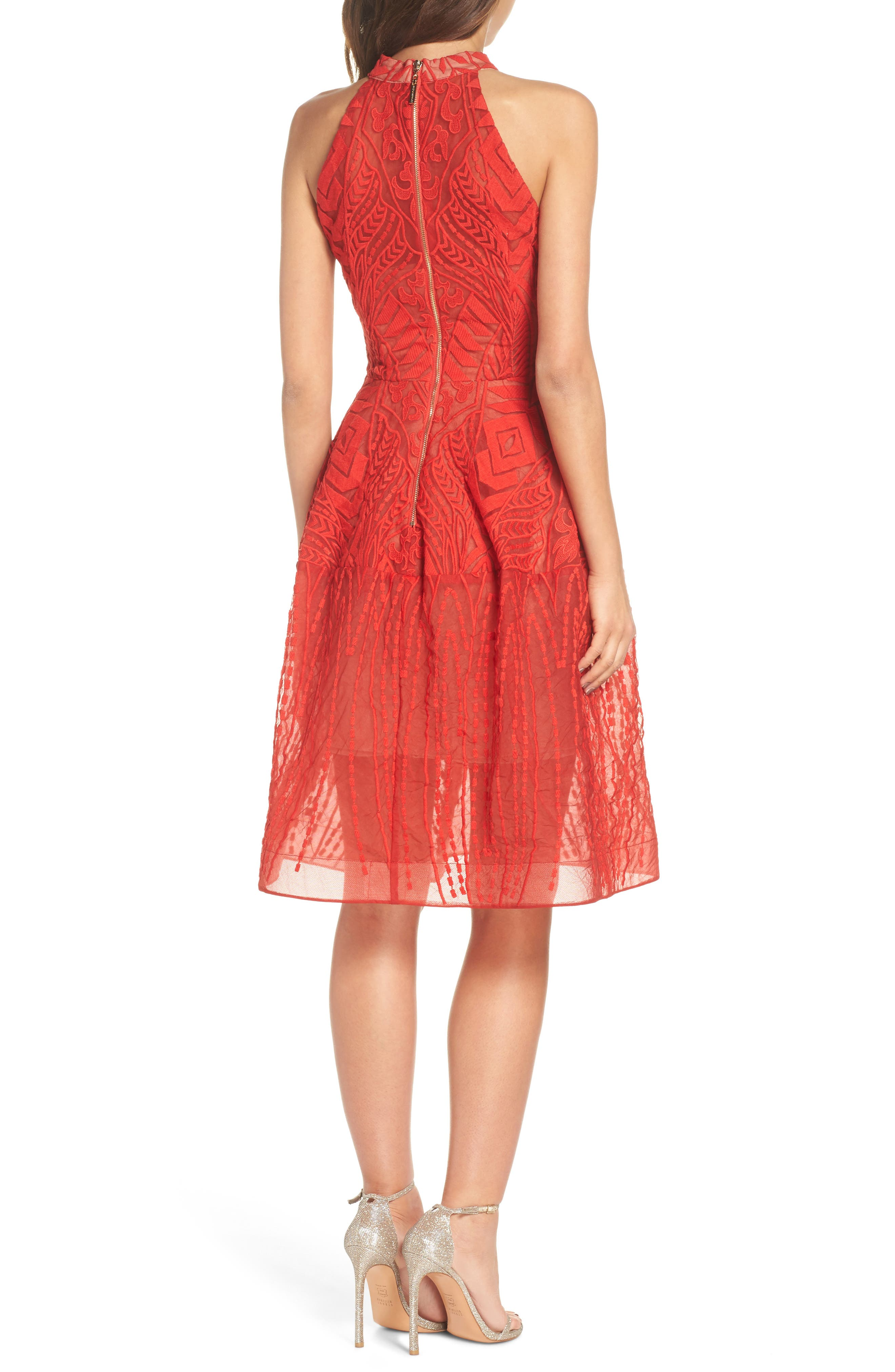 Notte Lace Fit & Flare Dress,                             Alternate thumbnail 2, color,                             RED