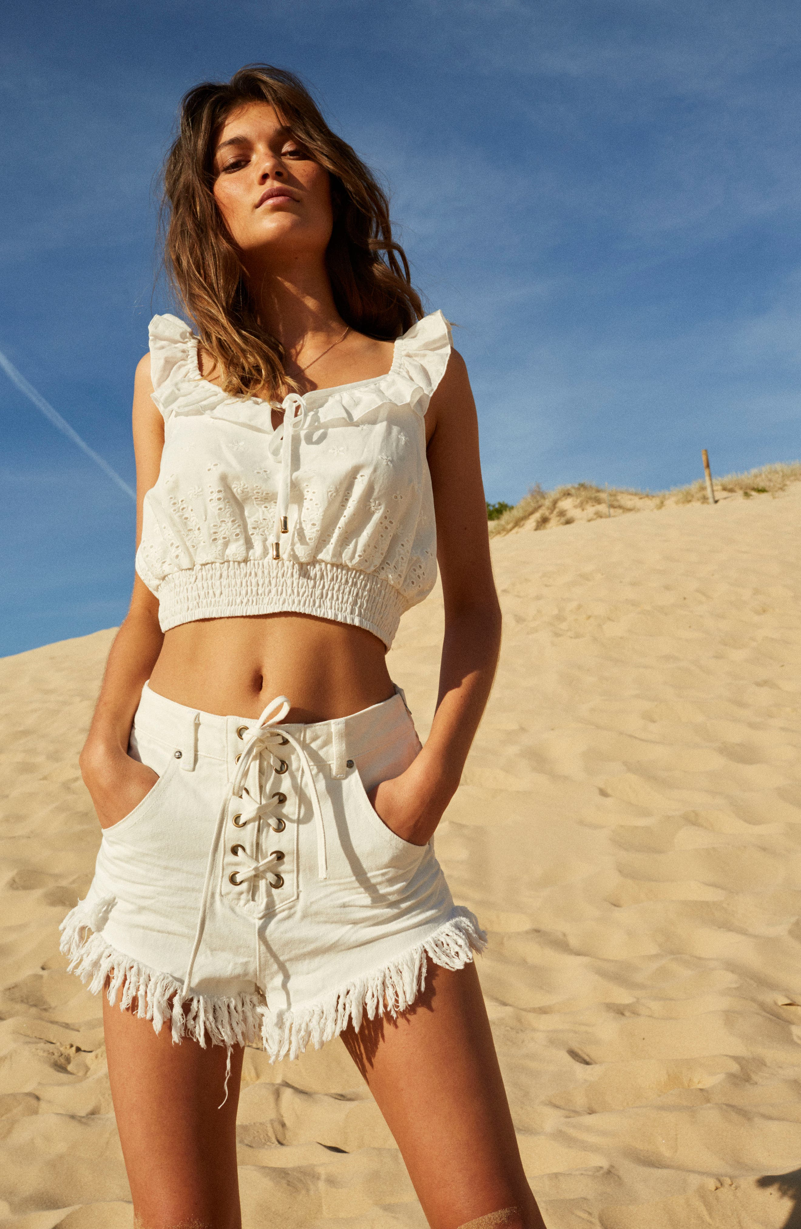 Bianco Eyelet Crop Top,                             Alternate thumbnail 9, color,