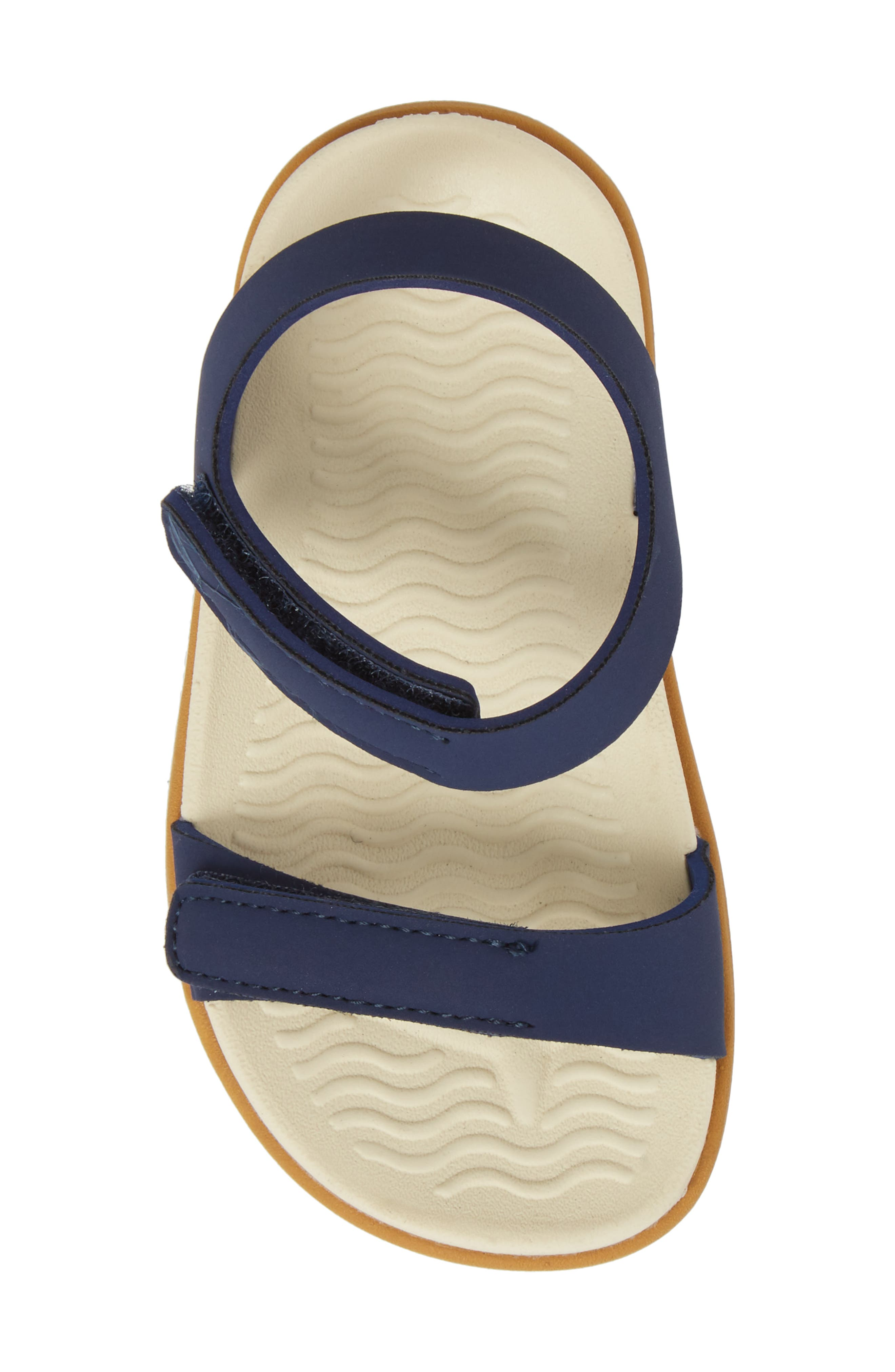 Charley Child Waterproof Flat Sandal,                             Alternate thumbnail 5, color,                             BLUE/ BONE WHITE/ TOFFEE