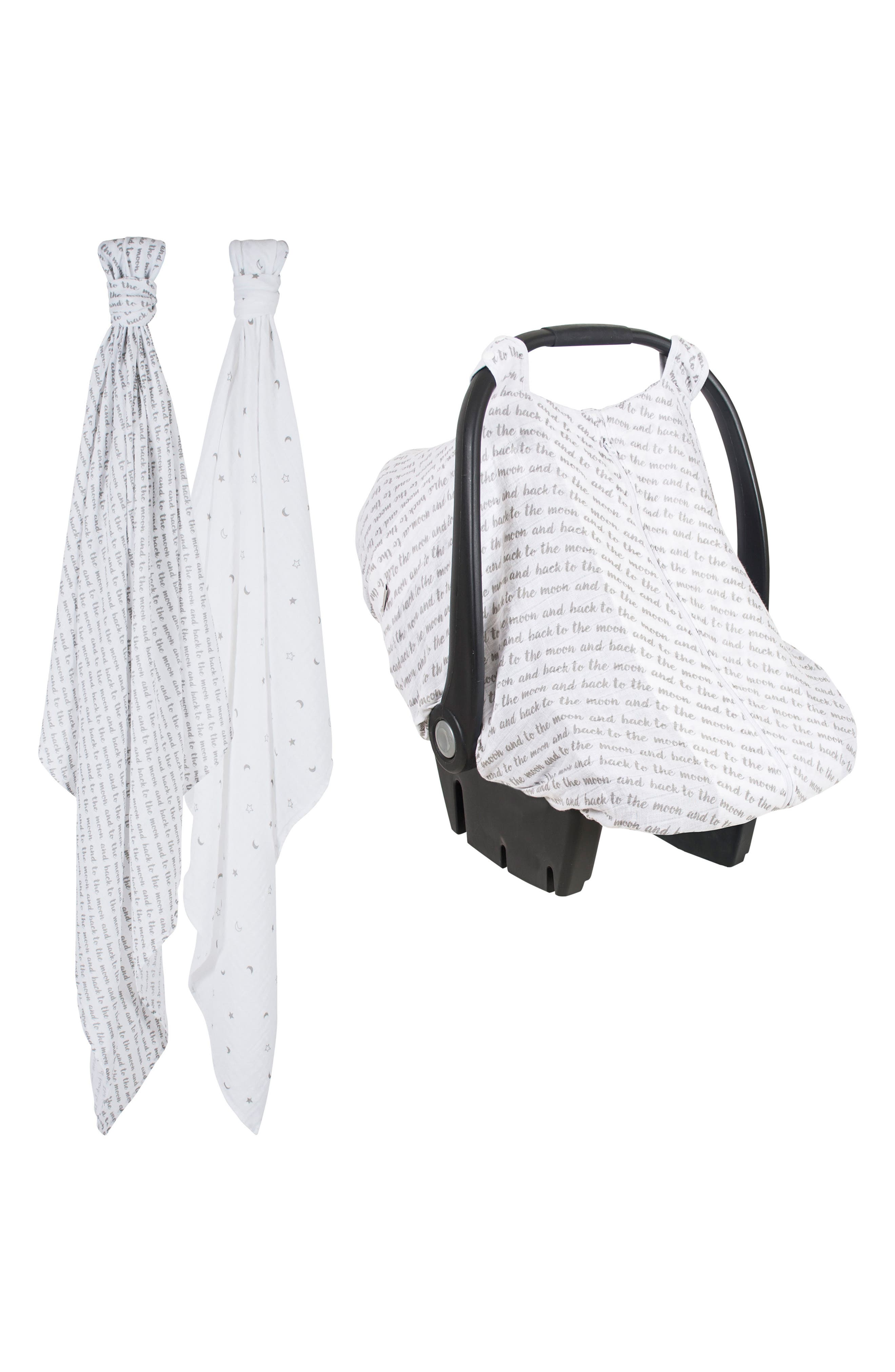 2-Pack Muslin Swaddling Cloths & Car Seat Cover Set,                             Main thumbnail 1, color,                             LOVE AND LUNA