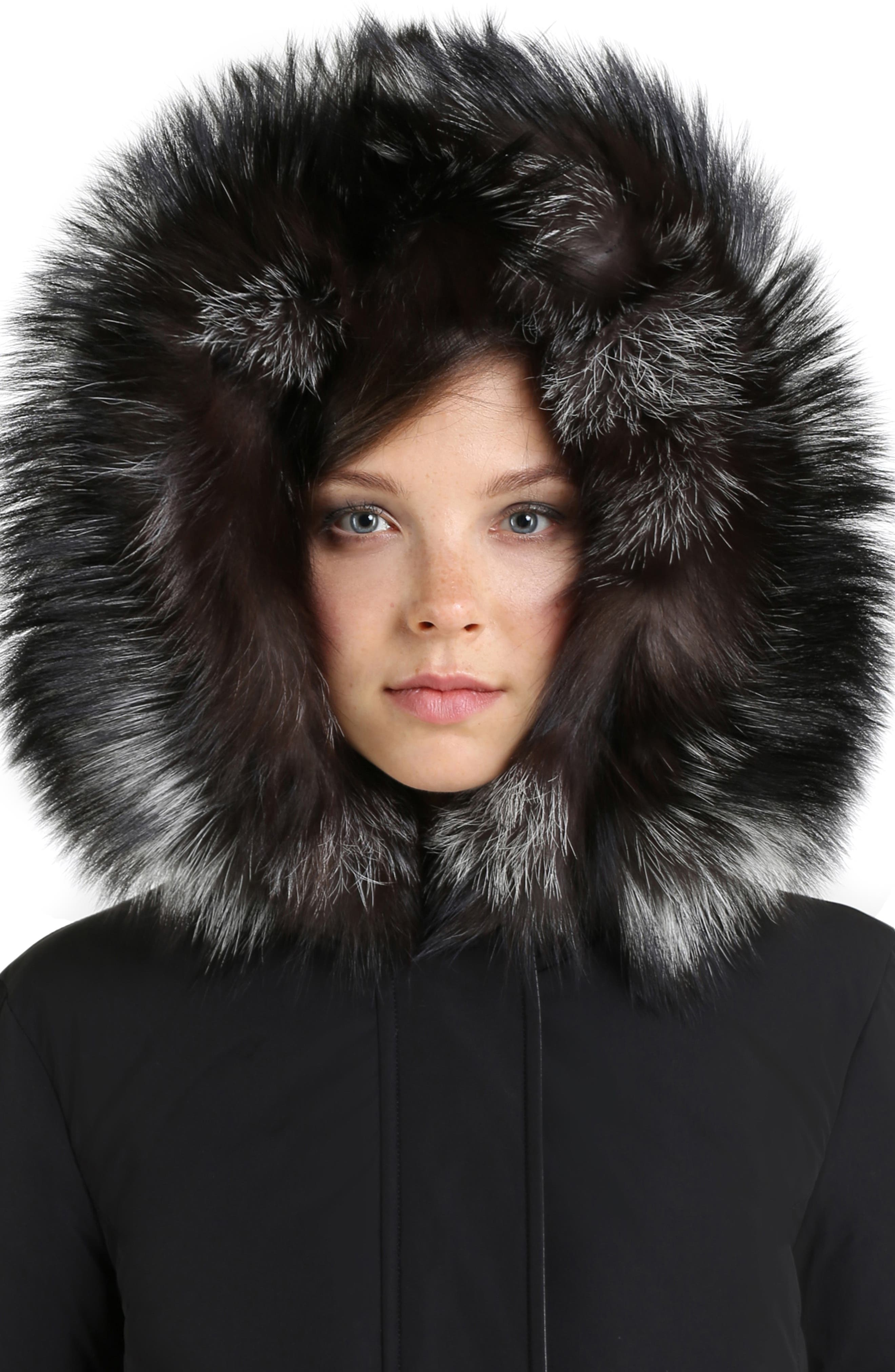 Somerset Reversible Hooded Down & Genuine Fox Fur Parka,                             Alternate thumbnail 3, color,                             BLACK