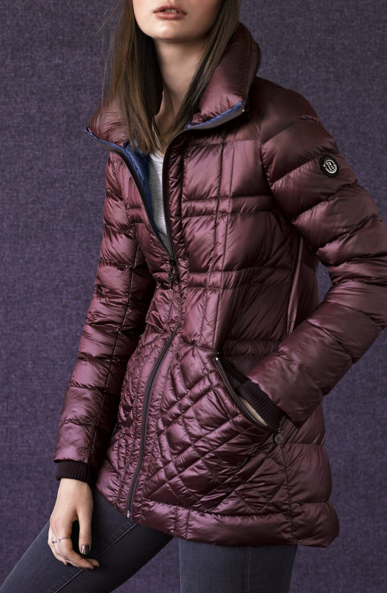 b59e4eb9aa0 Bernardo Glossy Packable Mixed Quilted Jacket With Down Primaloft