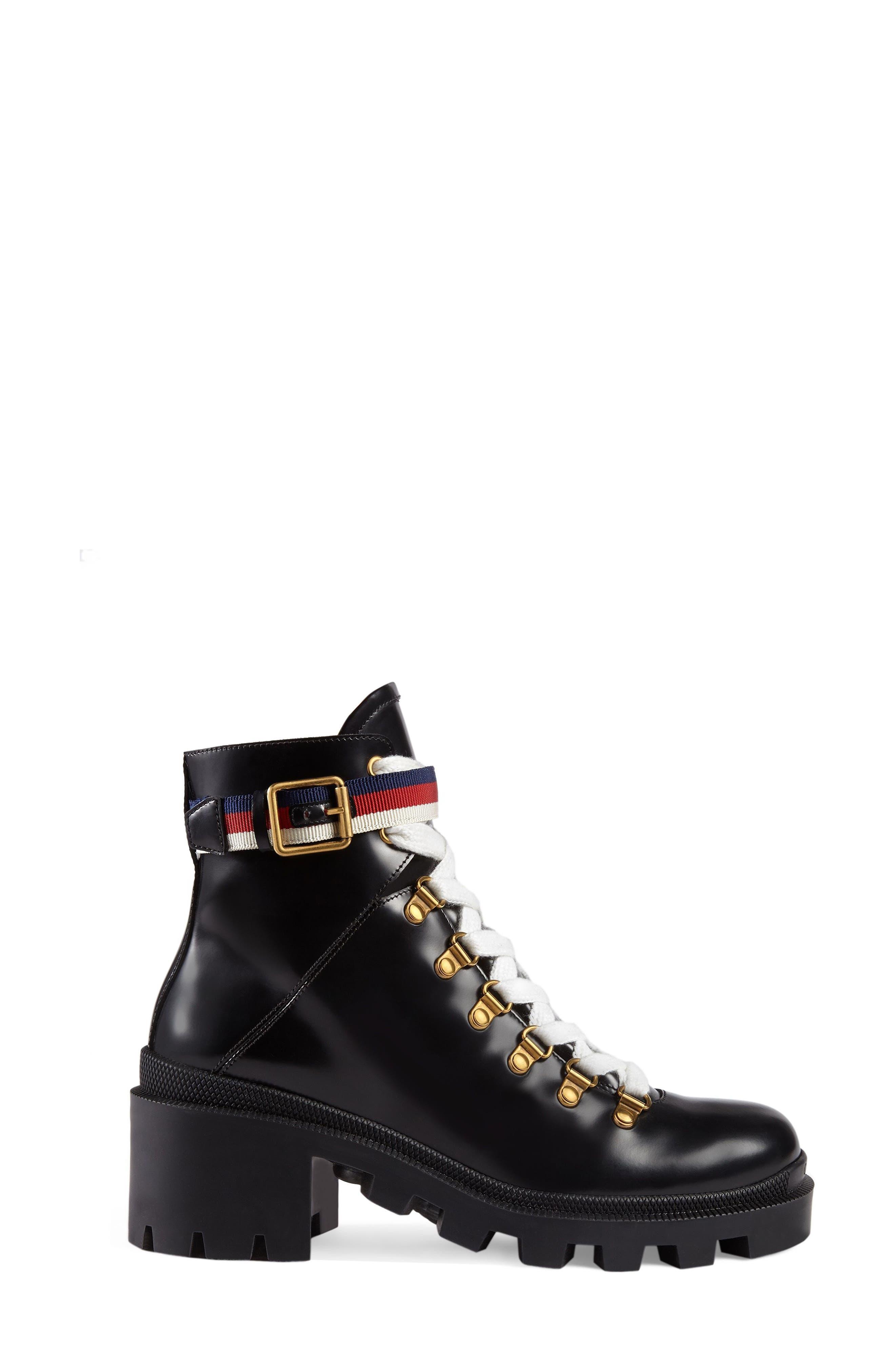 Trip Lug Sole Combat Boot,                         Main,                         color, BLACK LEATHER