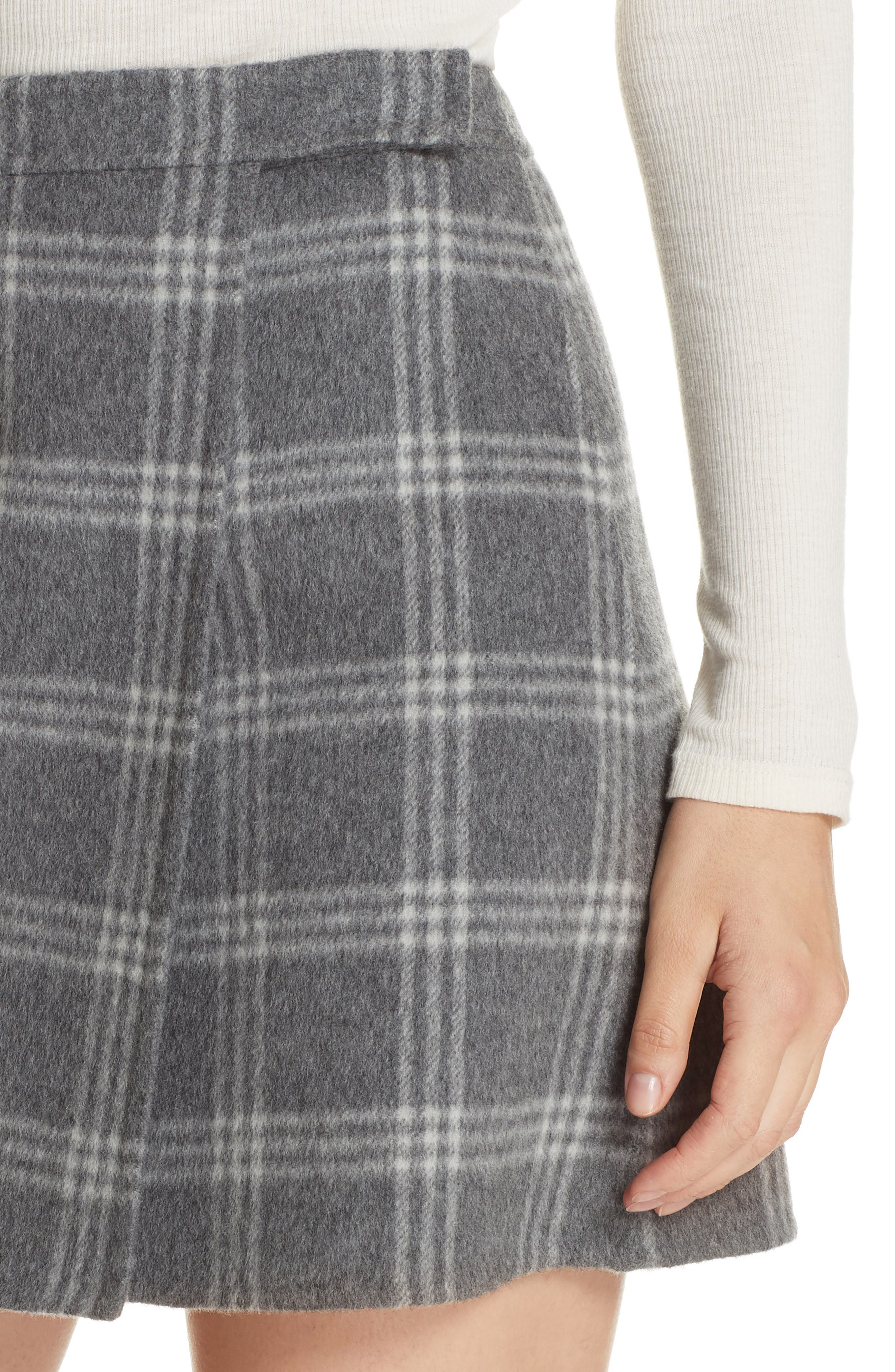 Westport Plaid Wool & Cashmere Miniskirt,                             Alternate thumbnail 4, color,                             022