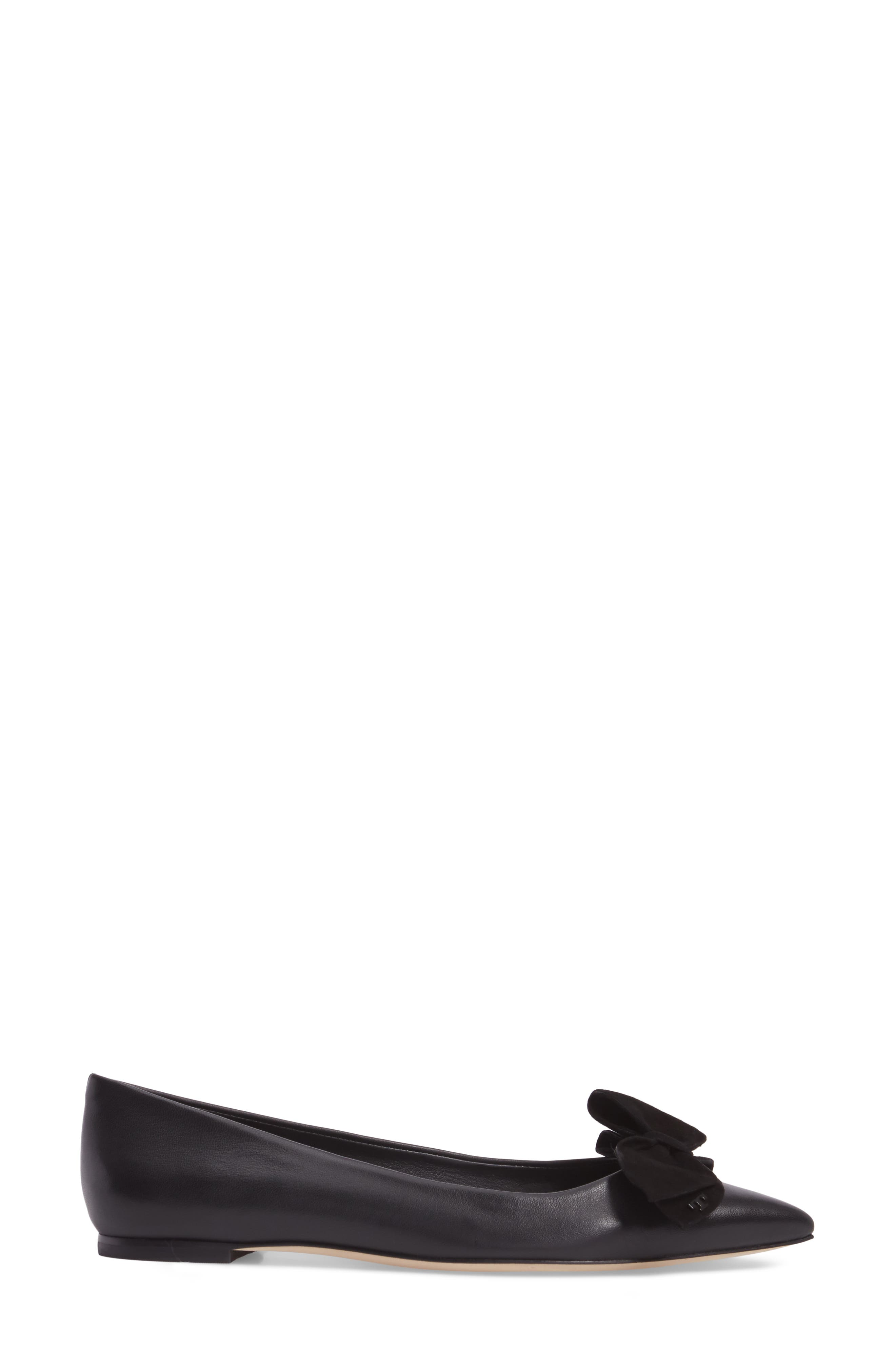 Rosalind Bow Pointy Toe Flat,                             Alternate thumbnail 3, color,                             BLACK LEATHER