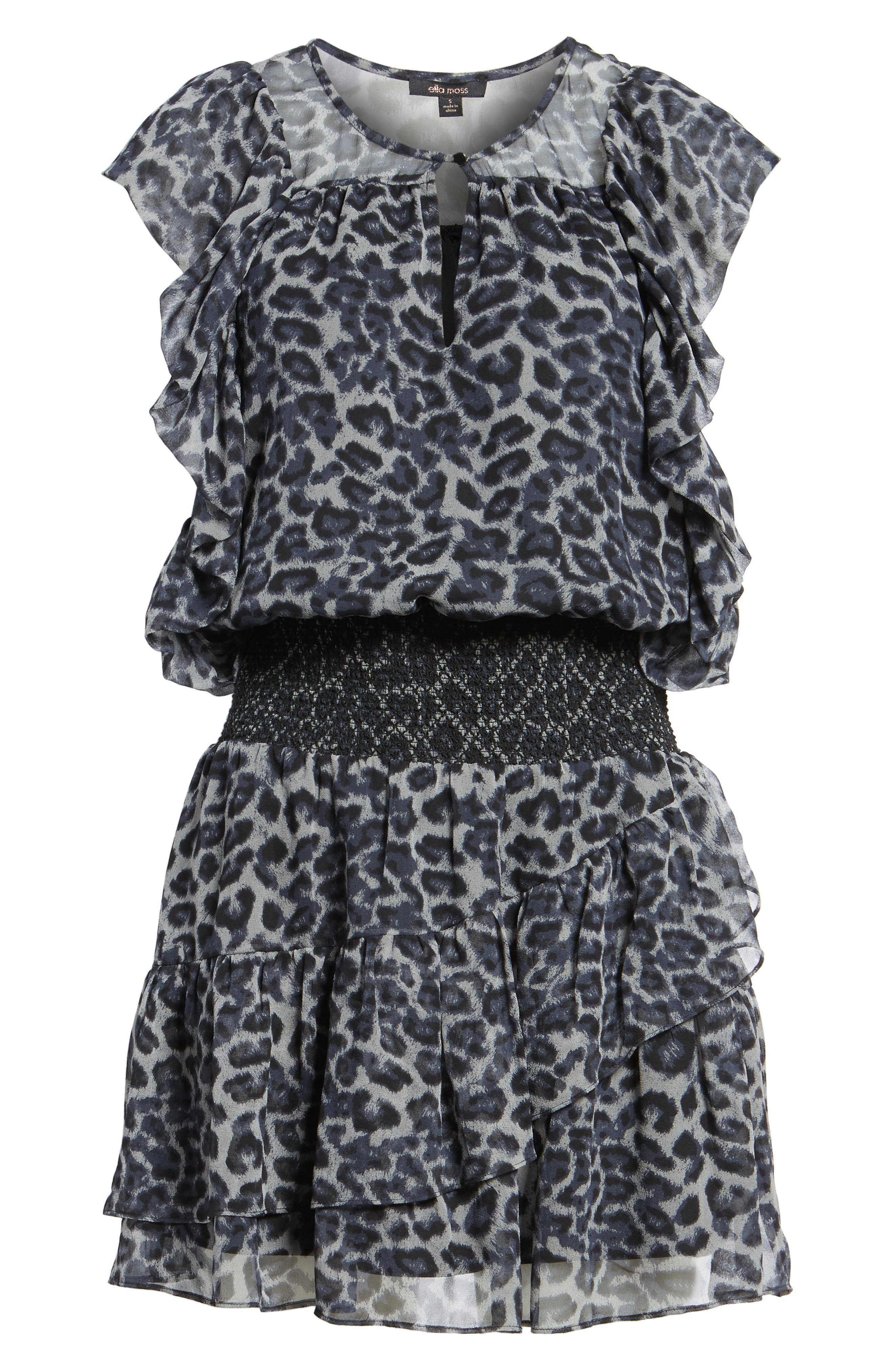 Tigris Smock Waist Dress,                             Alternate thumbnail 6, color,                             009