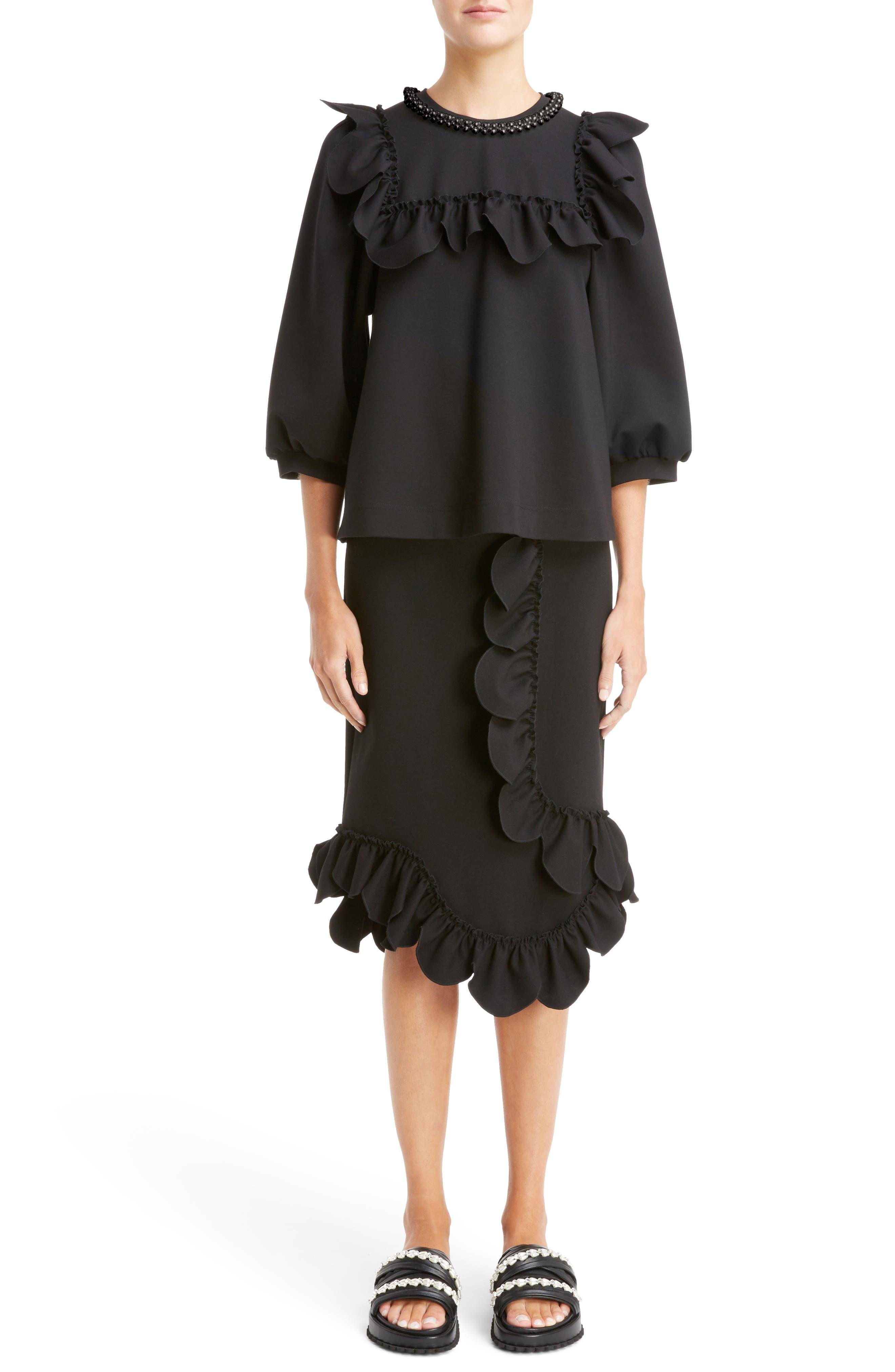 Asymmetrical Ruffle Skirt,                             Alternate thumbnail 6, color,                             001