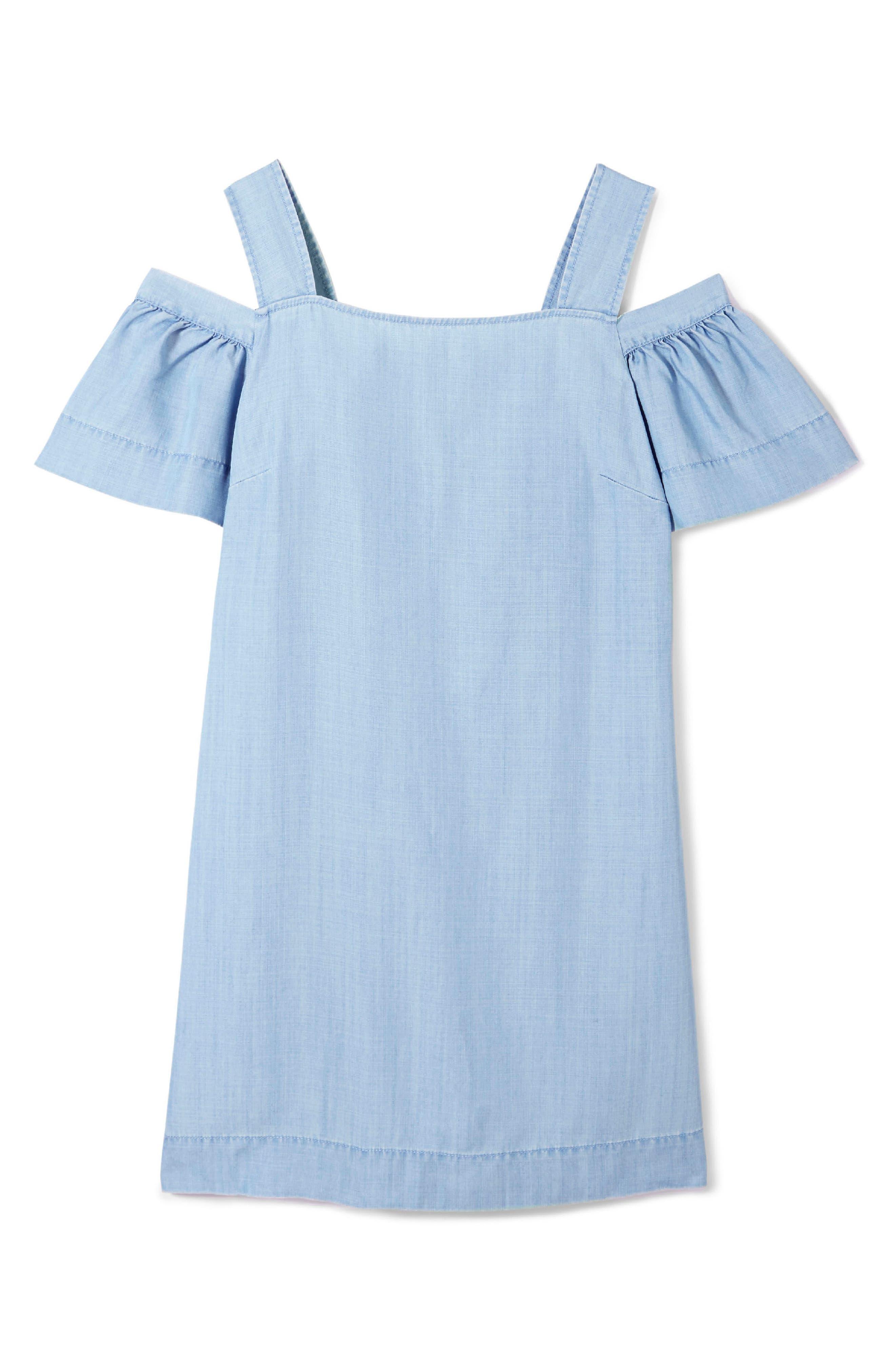 Ruffle Cold Shoulder Dress,                             Alternate thumbnail 3, color,                             410