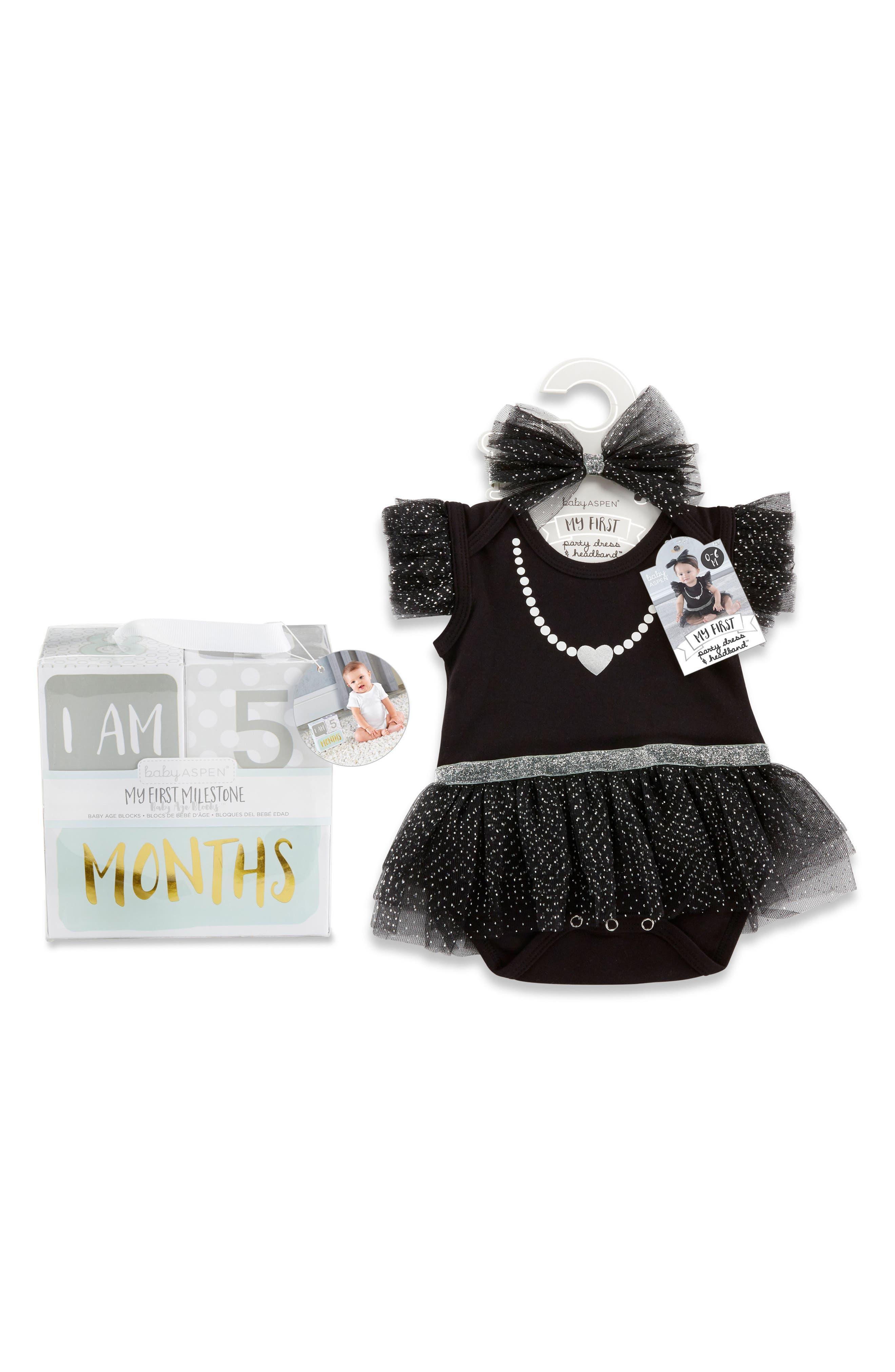 My First Party Dress, Headband & Milestone Blocks Set,                             Main thumbnail 1, color,                             BLACK/ WHITE