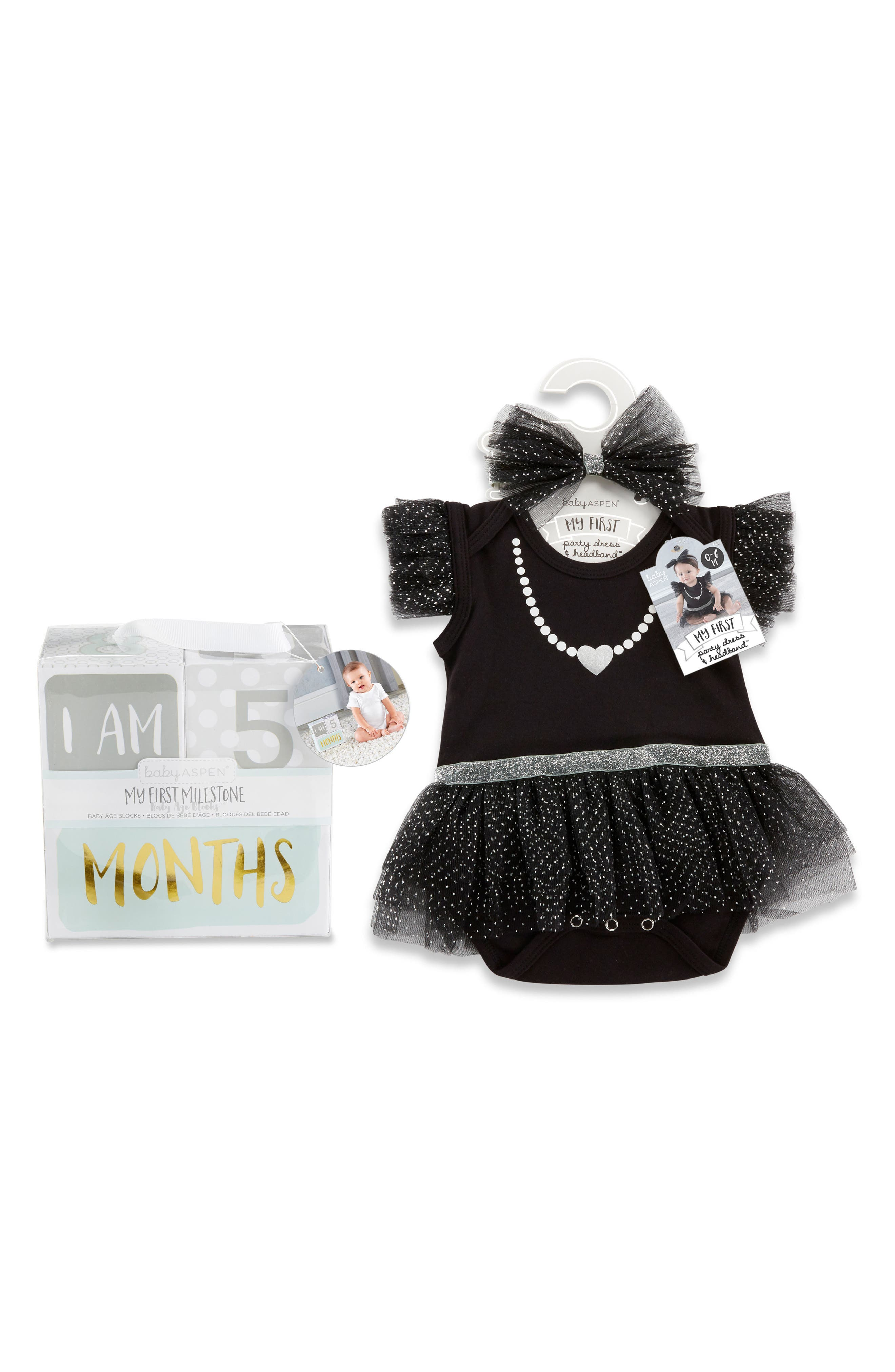 My First Party Dress, Headband & Milestone Blocks Set,                         Main,                         color, BLACK/ WHITE