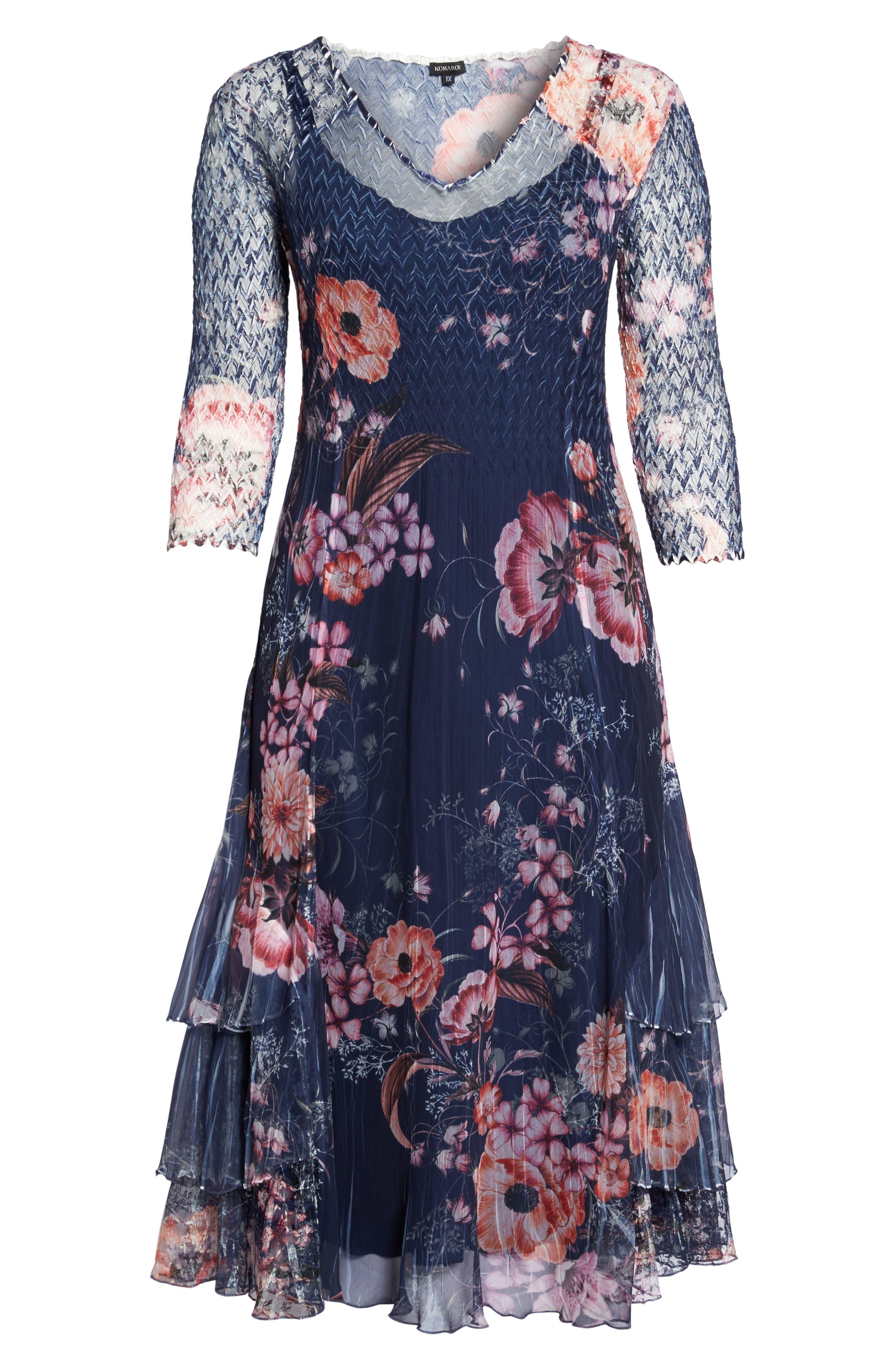 Print Chiffon Tiered Maxi Dress,                             Alternate thumbnail 6, color,                             958