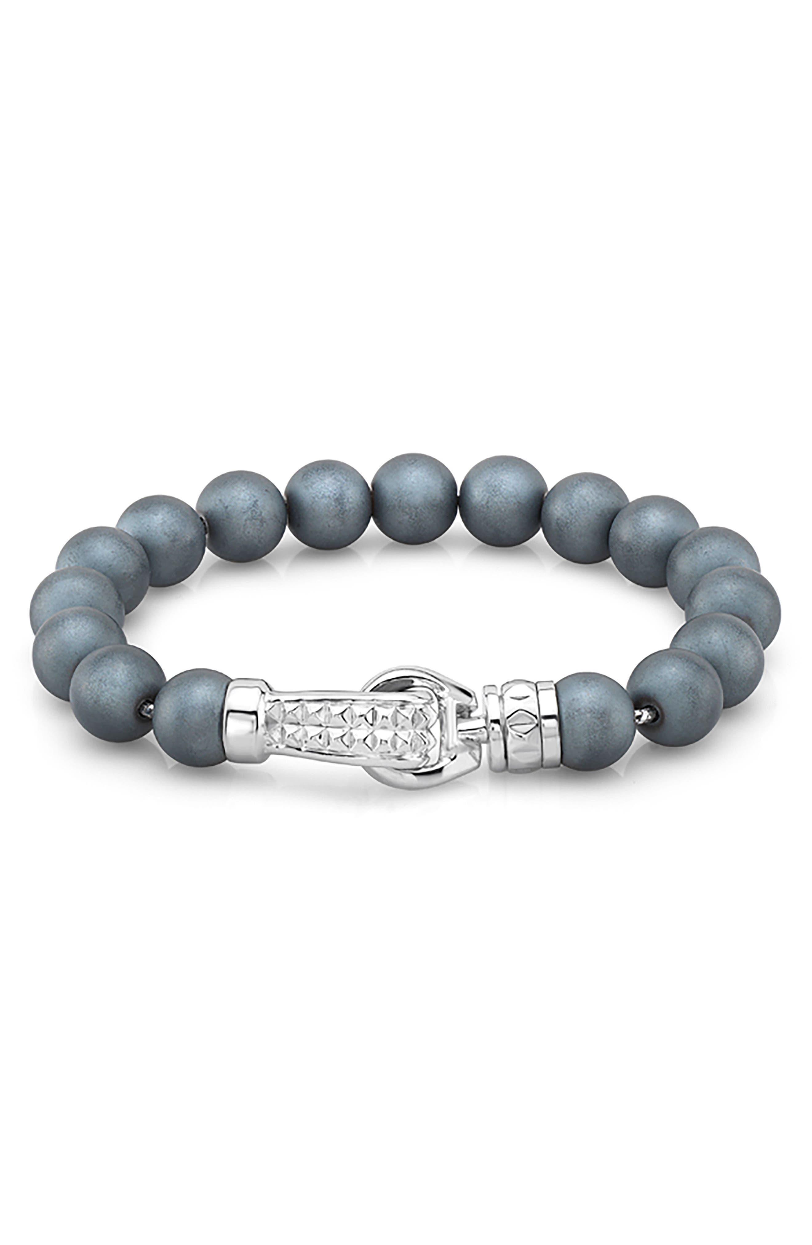 Hematite Bead Bracelet,                         Main,                         color, SILVER