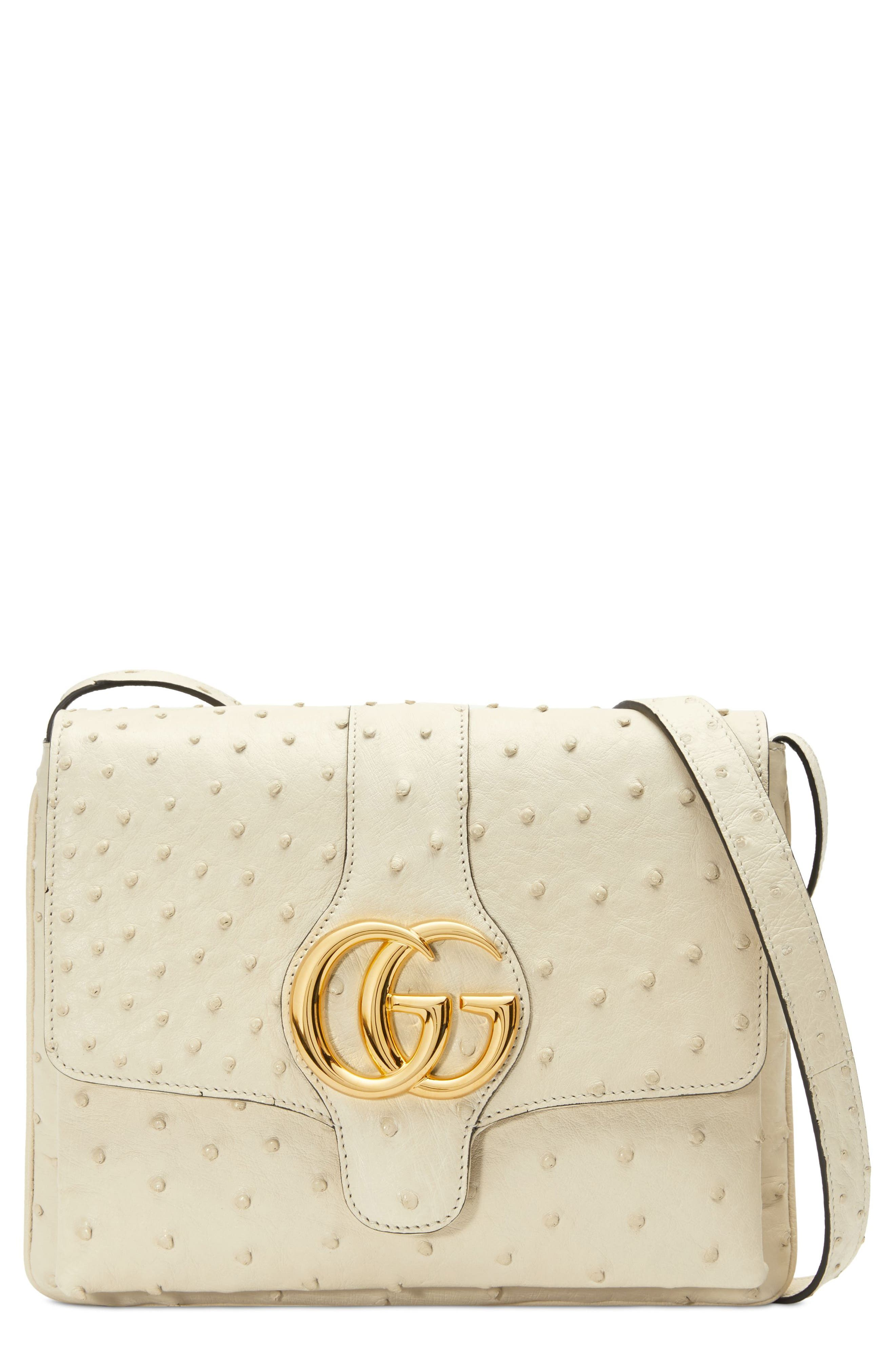 Medium Arli Ostrich Shoulder Bag,                         Main,                         color, IVORY