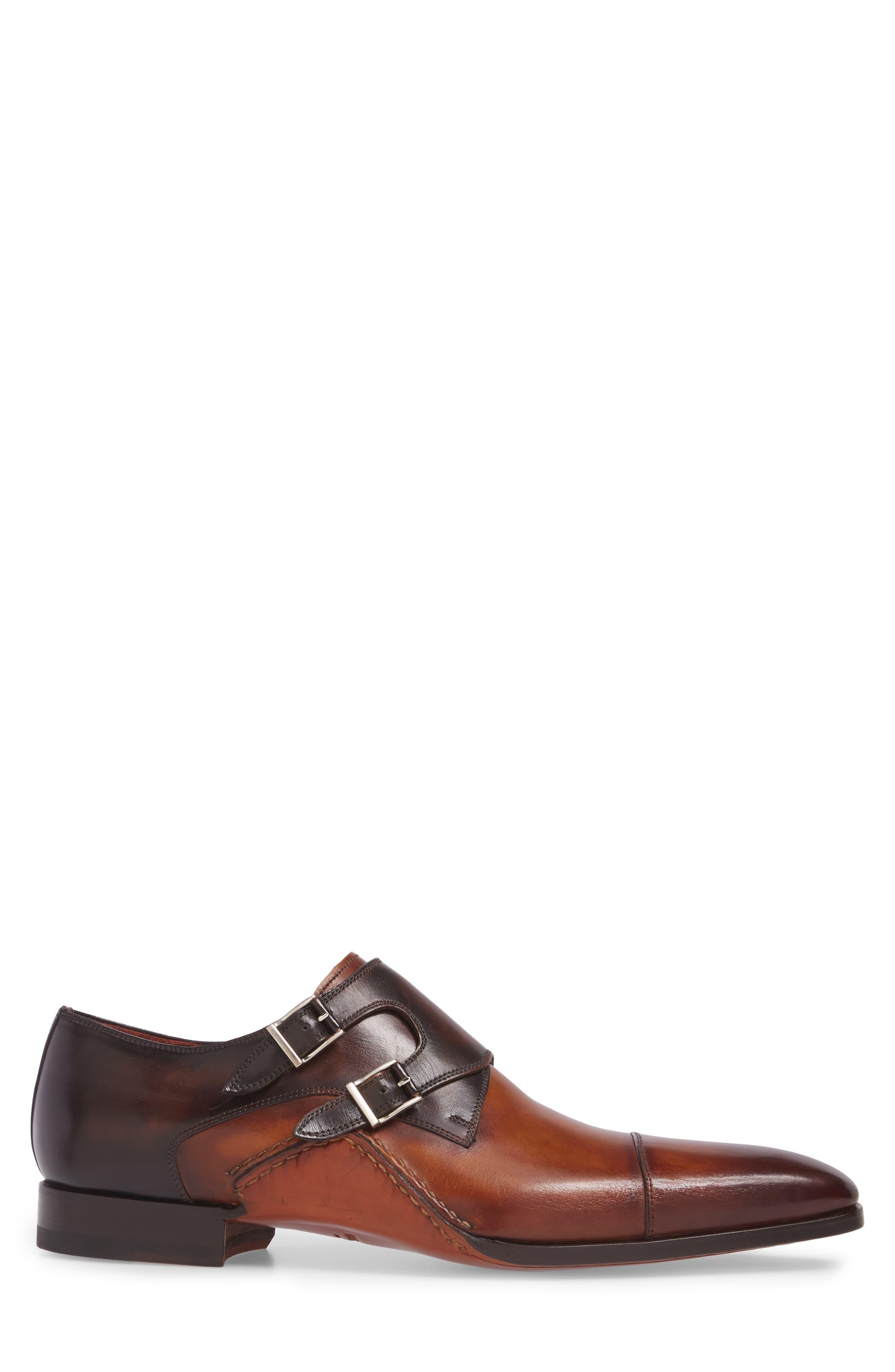 MAGNANNI,                             Ondara Double Monk Strap Shoe,                             Alternate thumbnail 3, color,                             CUERO/ BROWN LEATHER