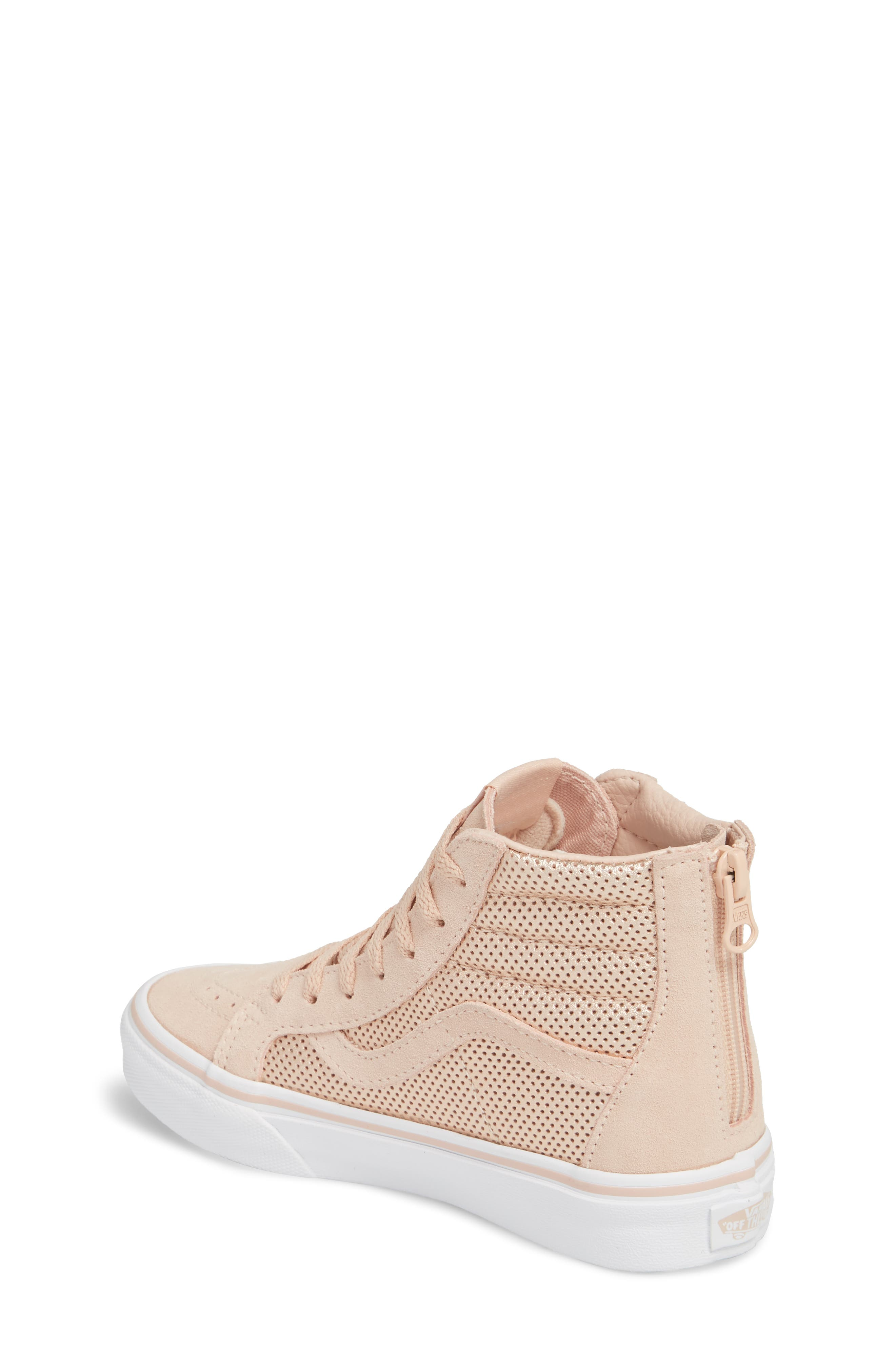 SK8-Hi Zip Sneaker,                             Alternate thumbnail 2, color,                             ROSE GOLD SUEDE LEATHER