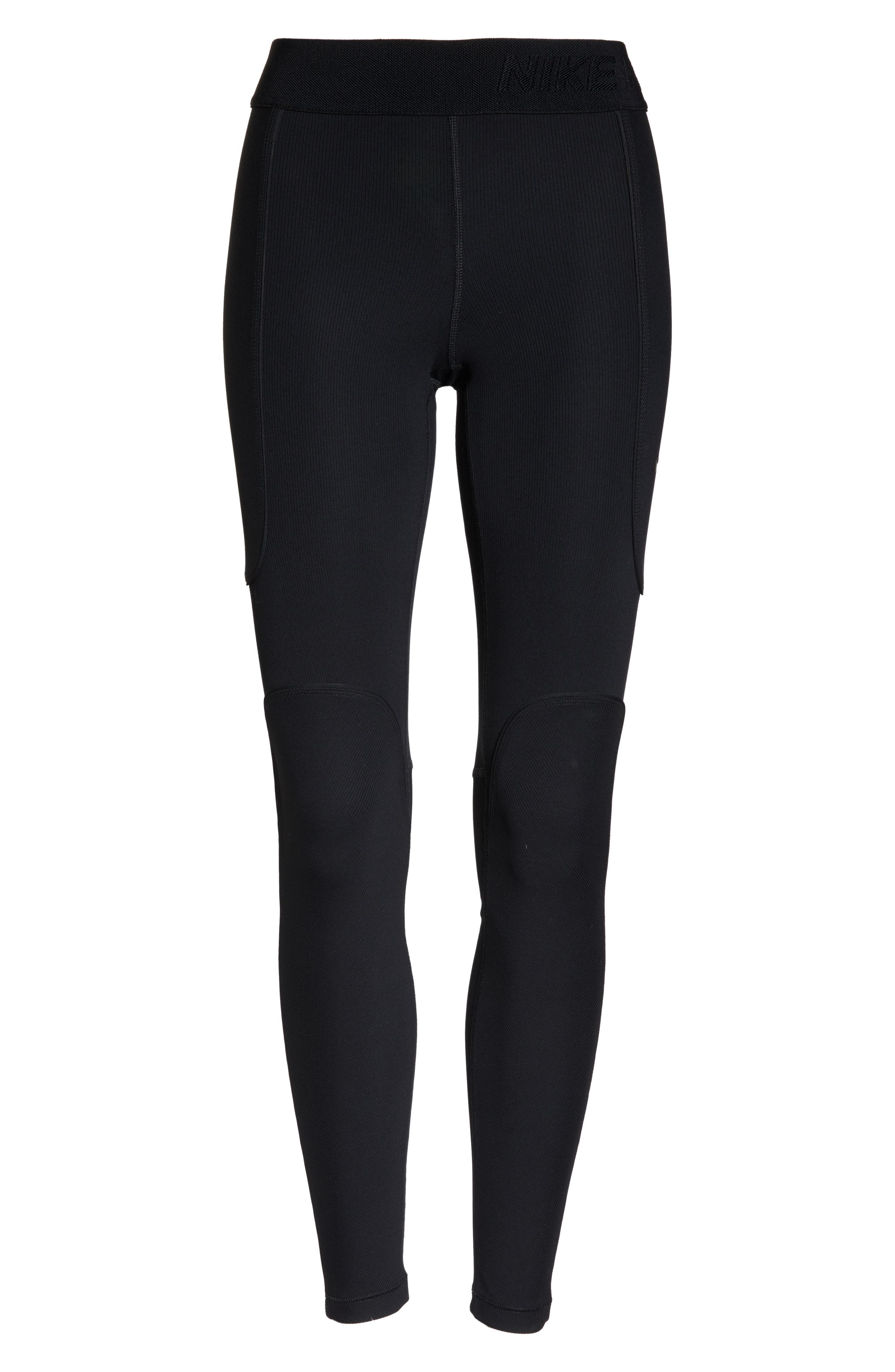 The Nike Pro HyperCool Women's Ribbed Tights,                             Alternate thumbnail 7, color,                             BLACK/ CLEAR