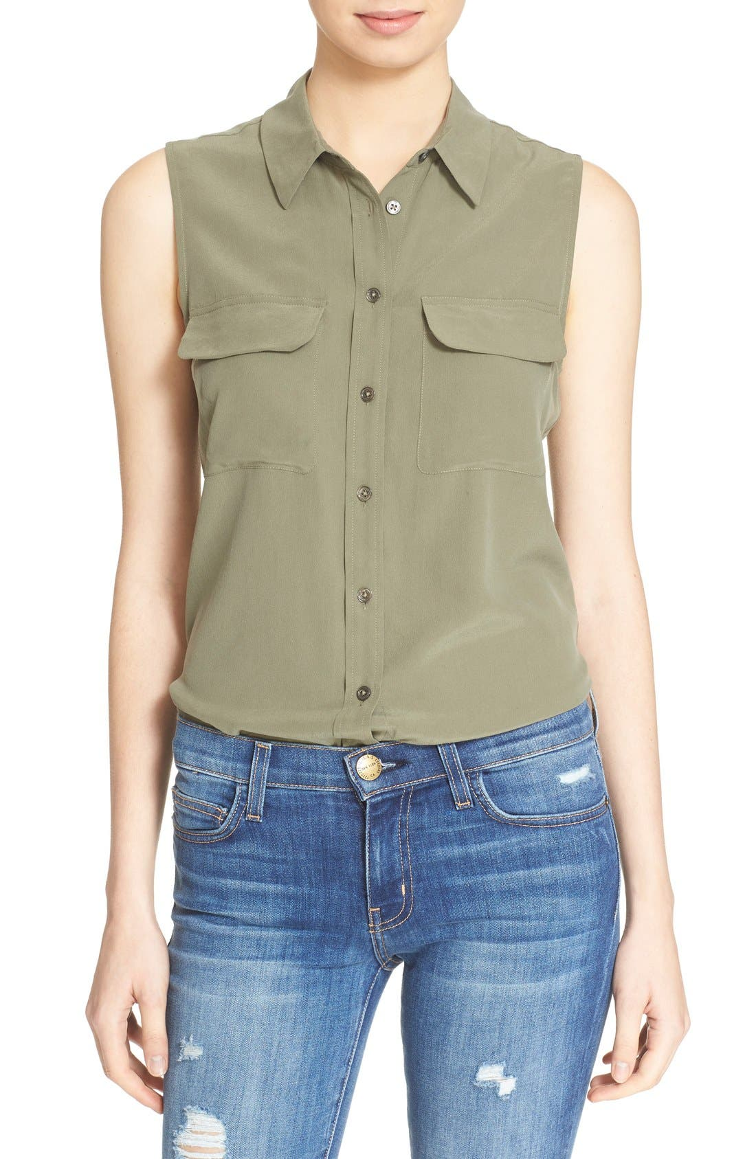 'Slim Signature' Sleeveless Silk Shirt,                             Main thumbnail 13, color,