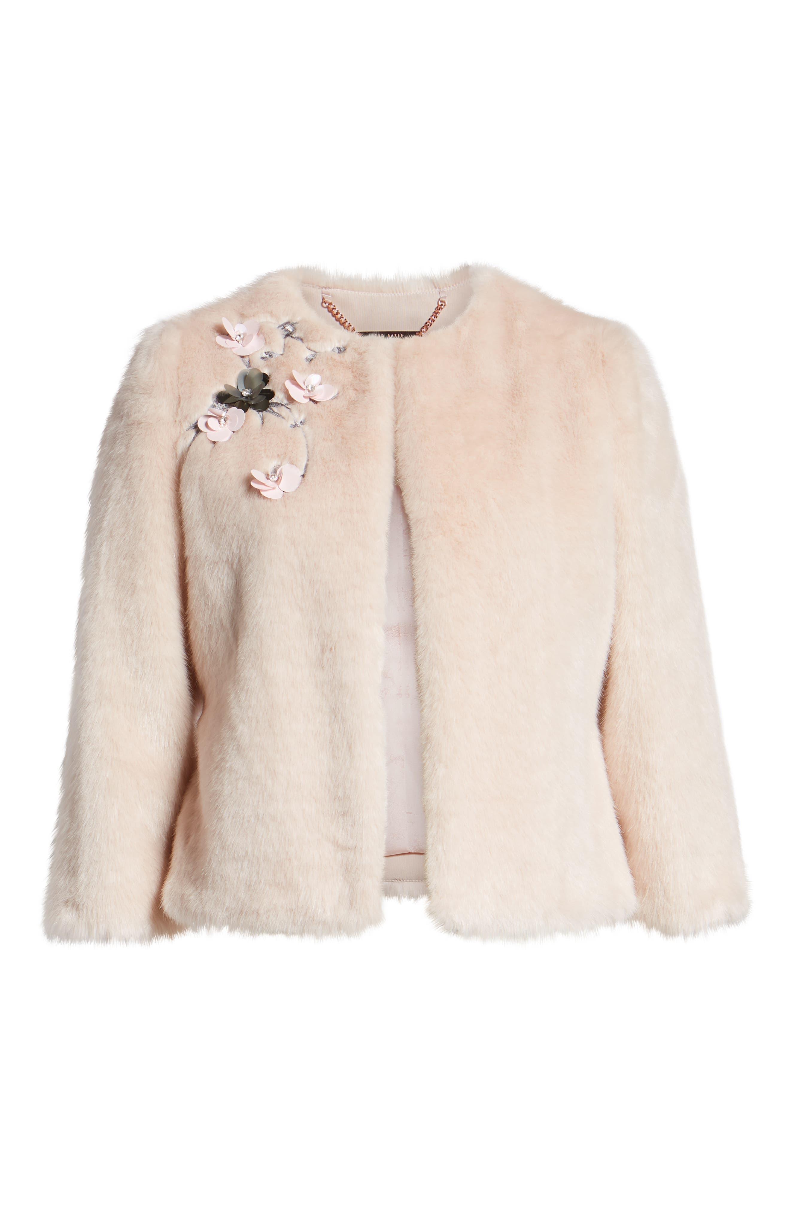 Appliqué Embellished Faux Fur Crop Jacket,                             Alternate thumbnail 6, color,                             NUDE PINK