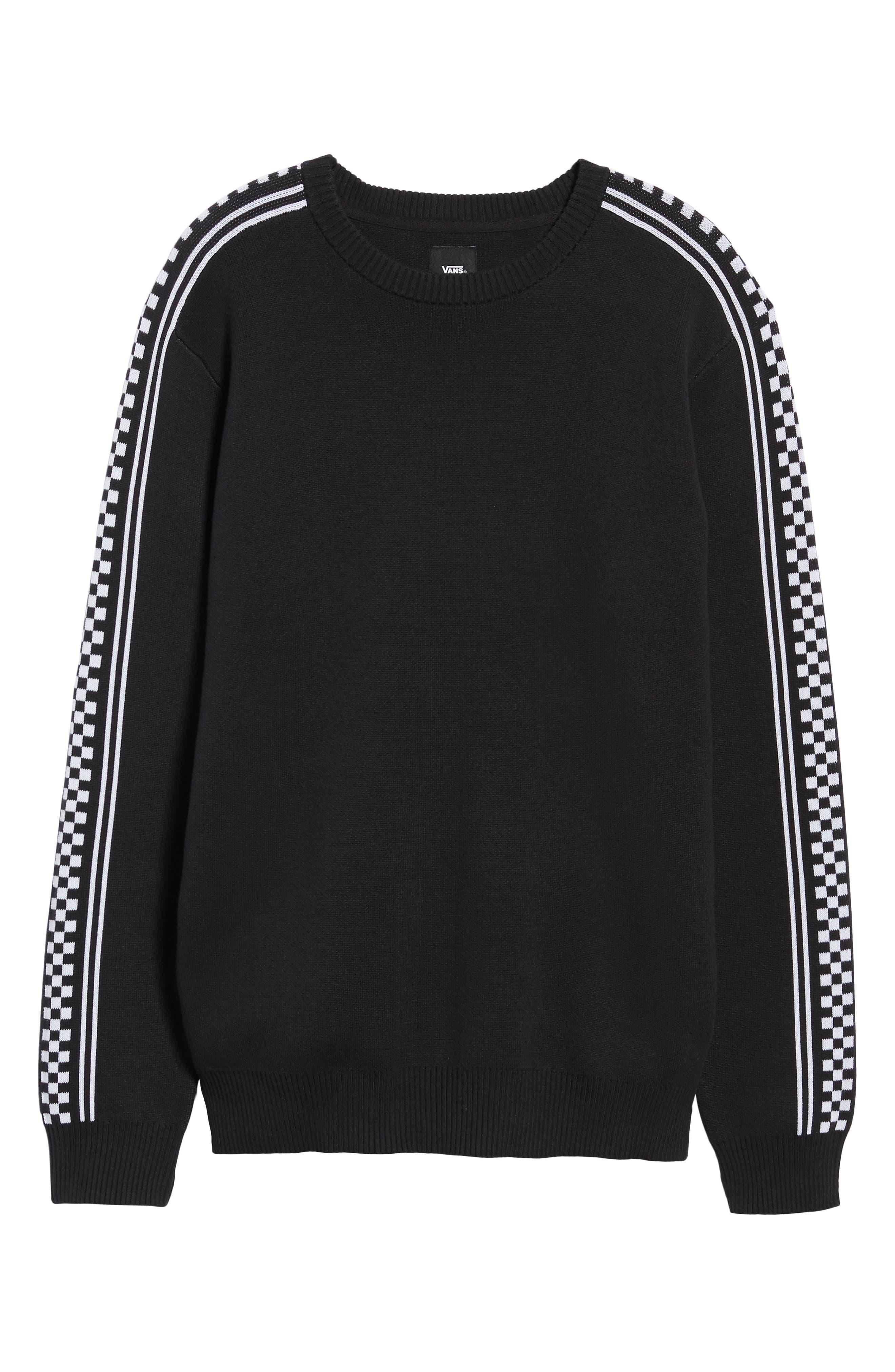 Check Yo Sleeve Crewneck Sweater,                             Alternate thumbnail 6, color,                             001