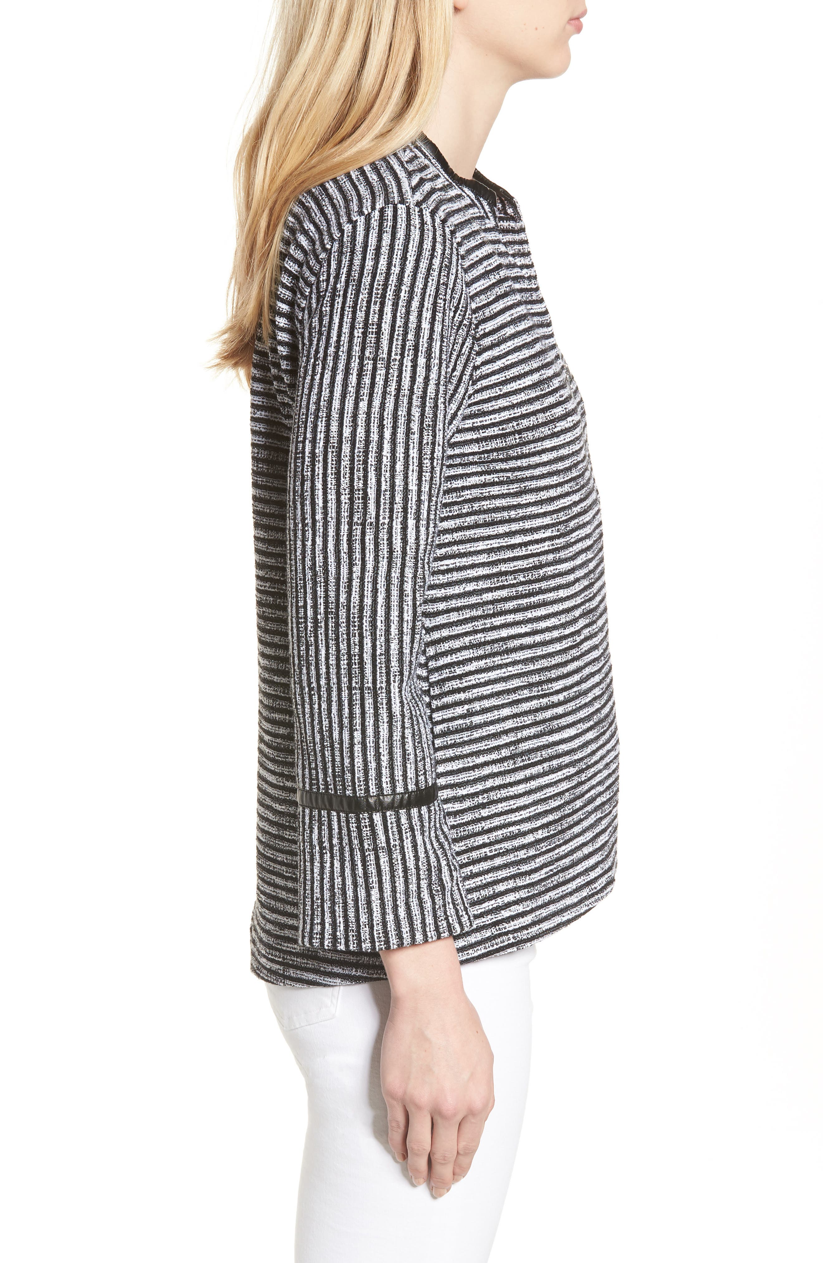 Irina Stripe Knit Jacket,                             Alternate thumbnail 3, color,                             004