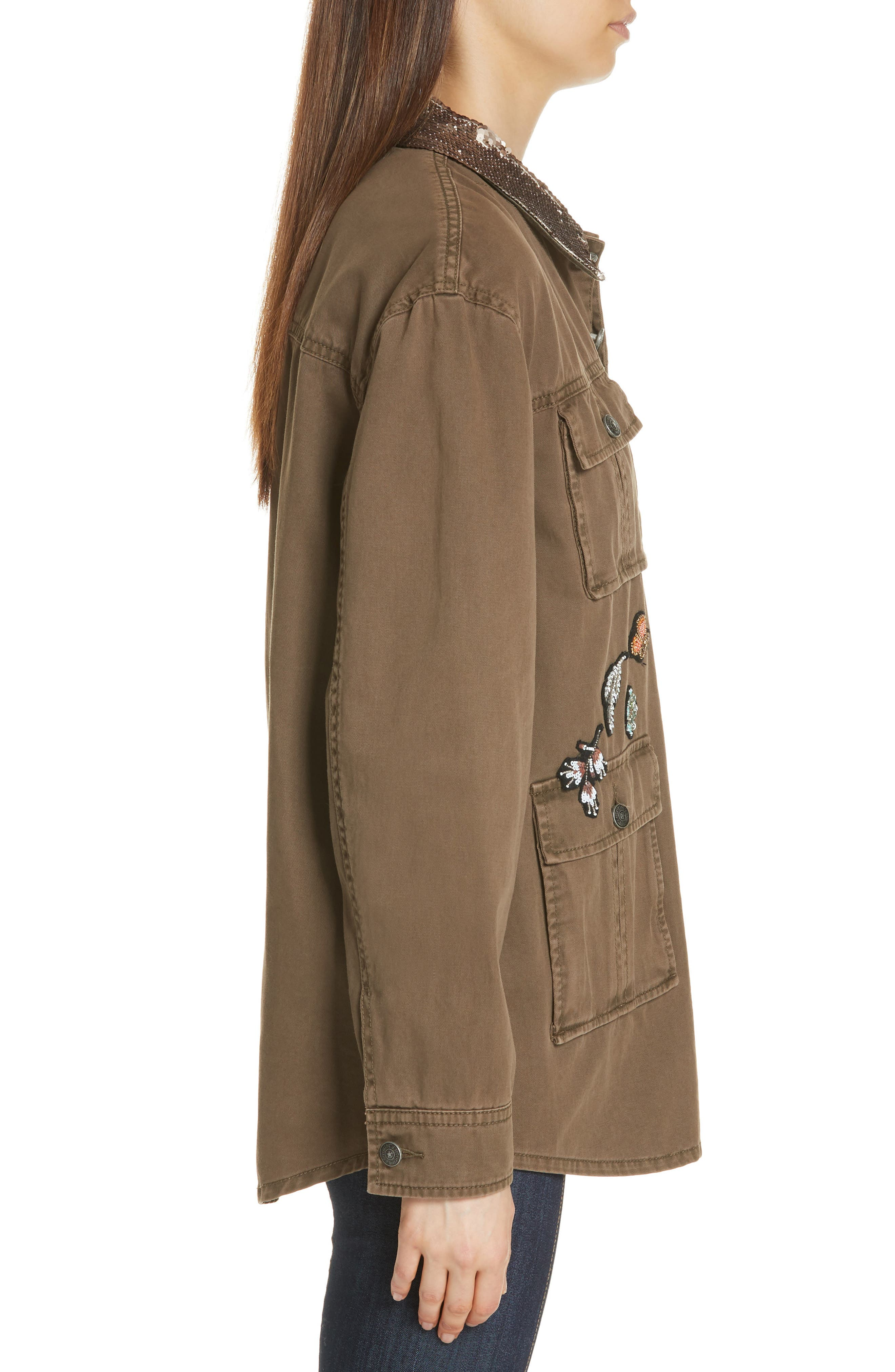 Canyon Sequin Patch Jacket,                             Alternate thumbnail 3, color,                             OLIVE