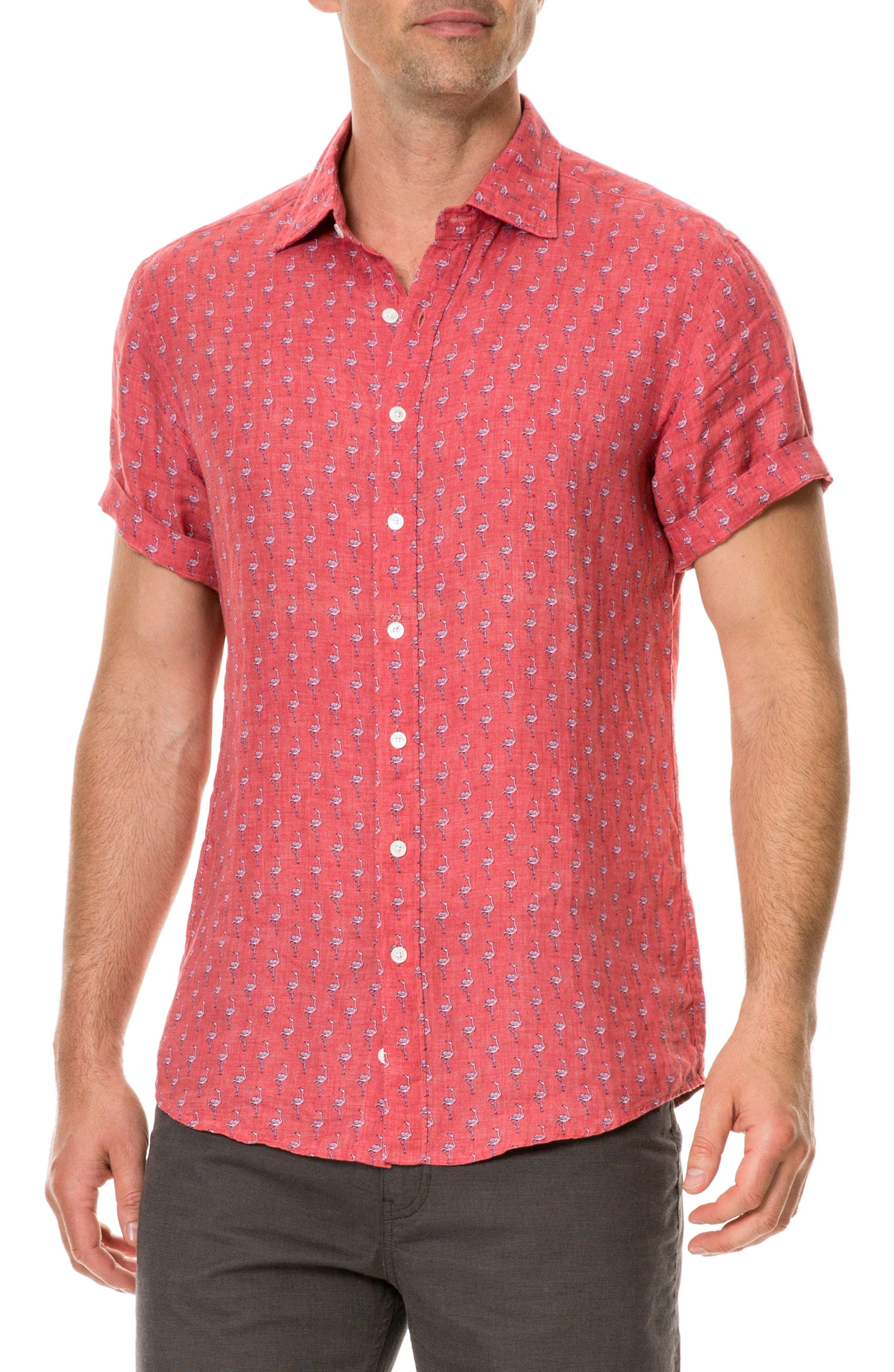 Hans Bay Sports Fit Flamingo Print Sport Shirt,                             Main thumbnail 1, color,                             CORAL