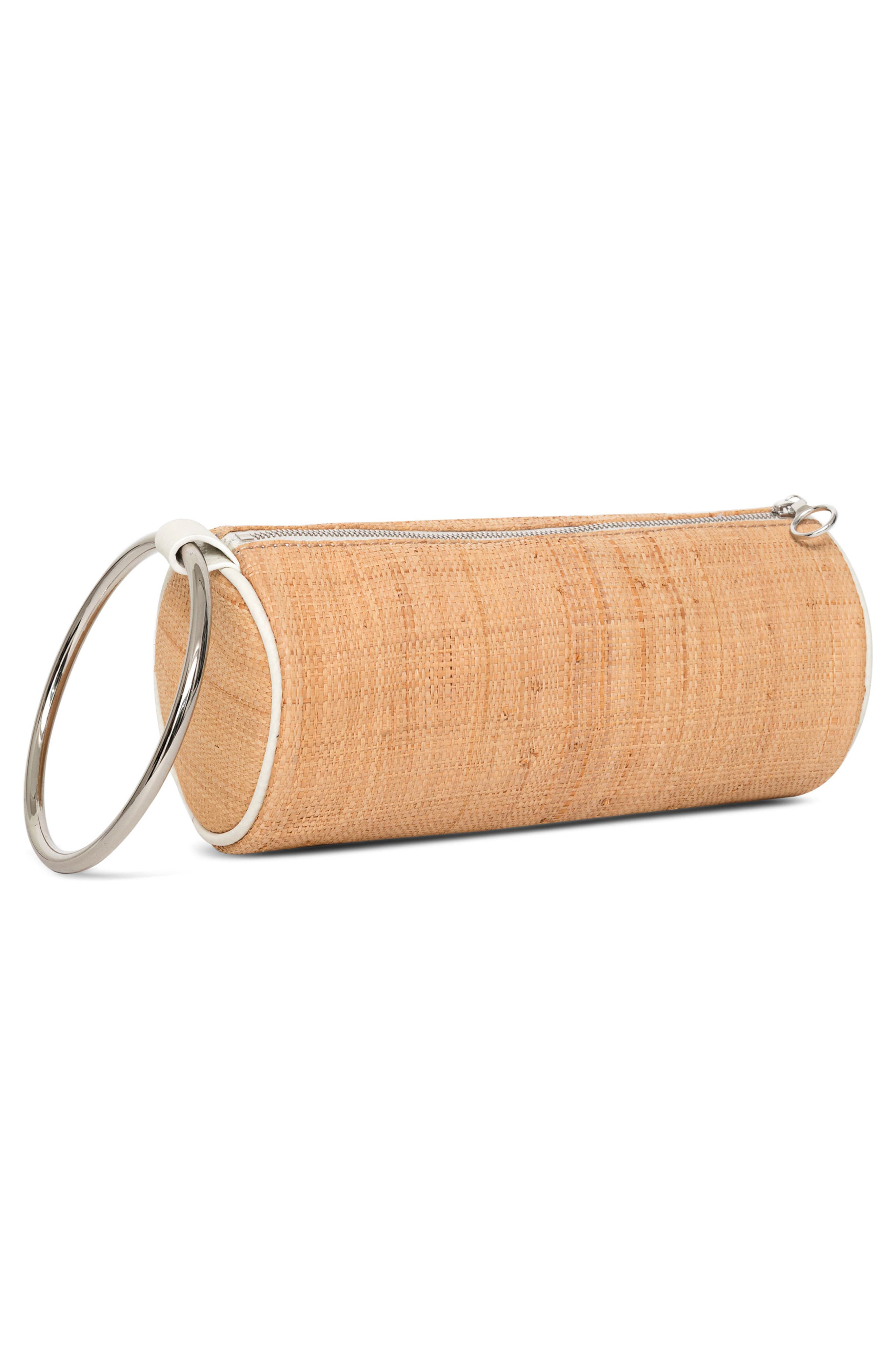Straw Duffel Wristlet Clutch,                             Alternate thumbnail 3, color,                             250