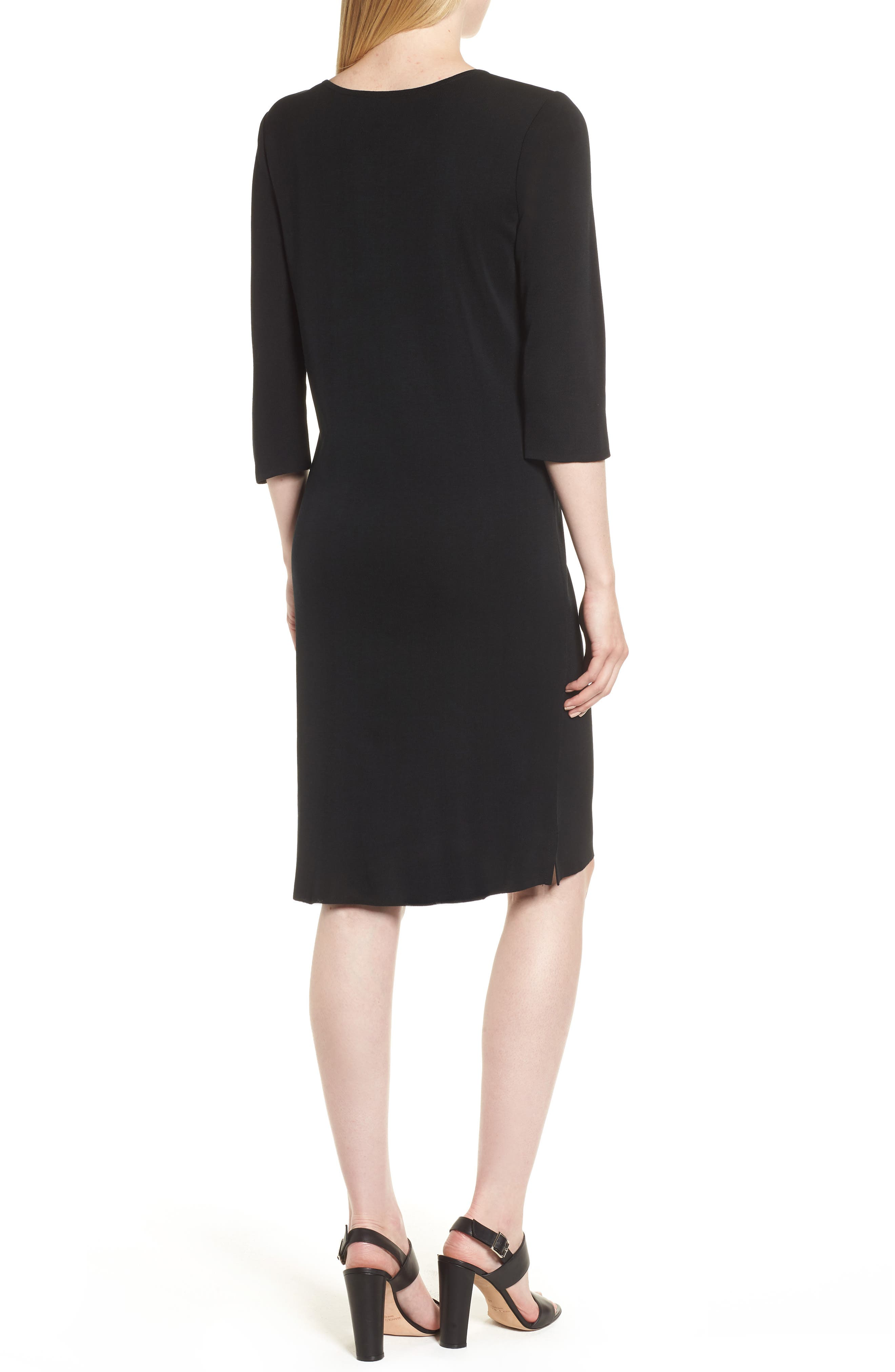 MING WANG,                             V-Neck Dress,                             Alternate thumbnail 2, color,                             BLACK