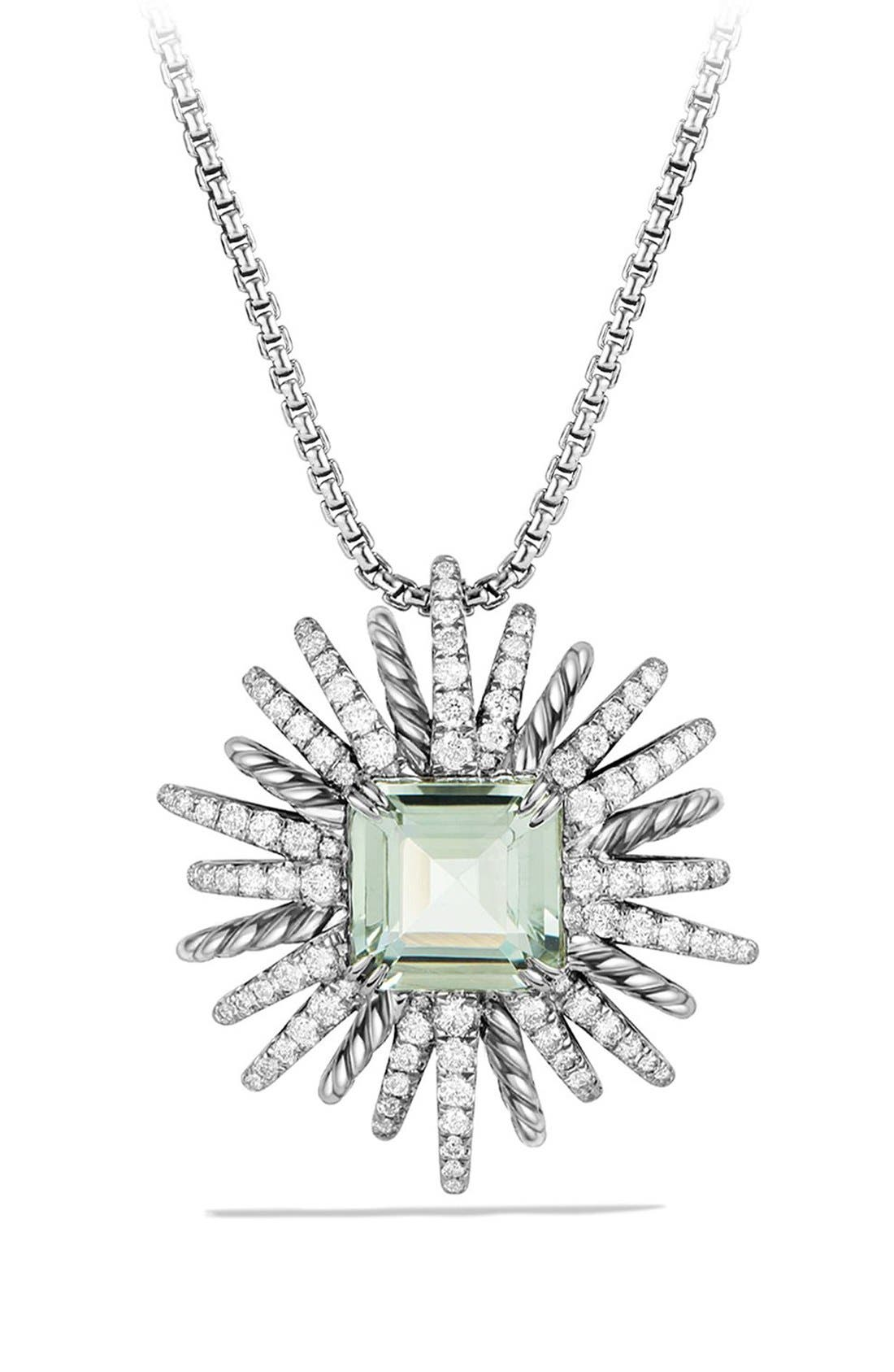 'Starburst' Necklace with Diamonds in Silver,                         Main,                         color, PRASIOLITE
