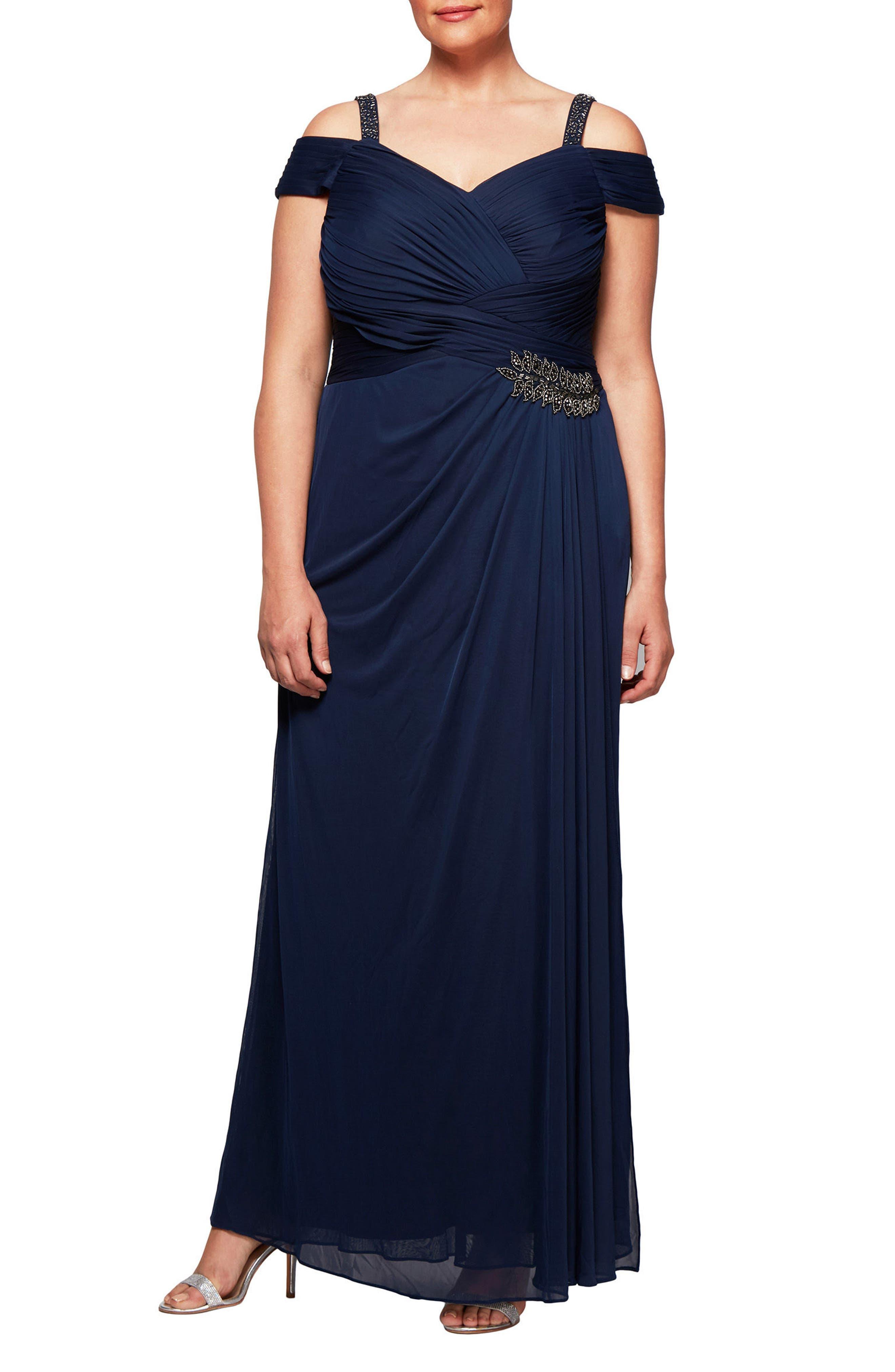 Embellished Cold Shoulder Gown,                             Main thumbnail 1, color,                             415