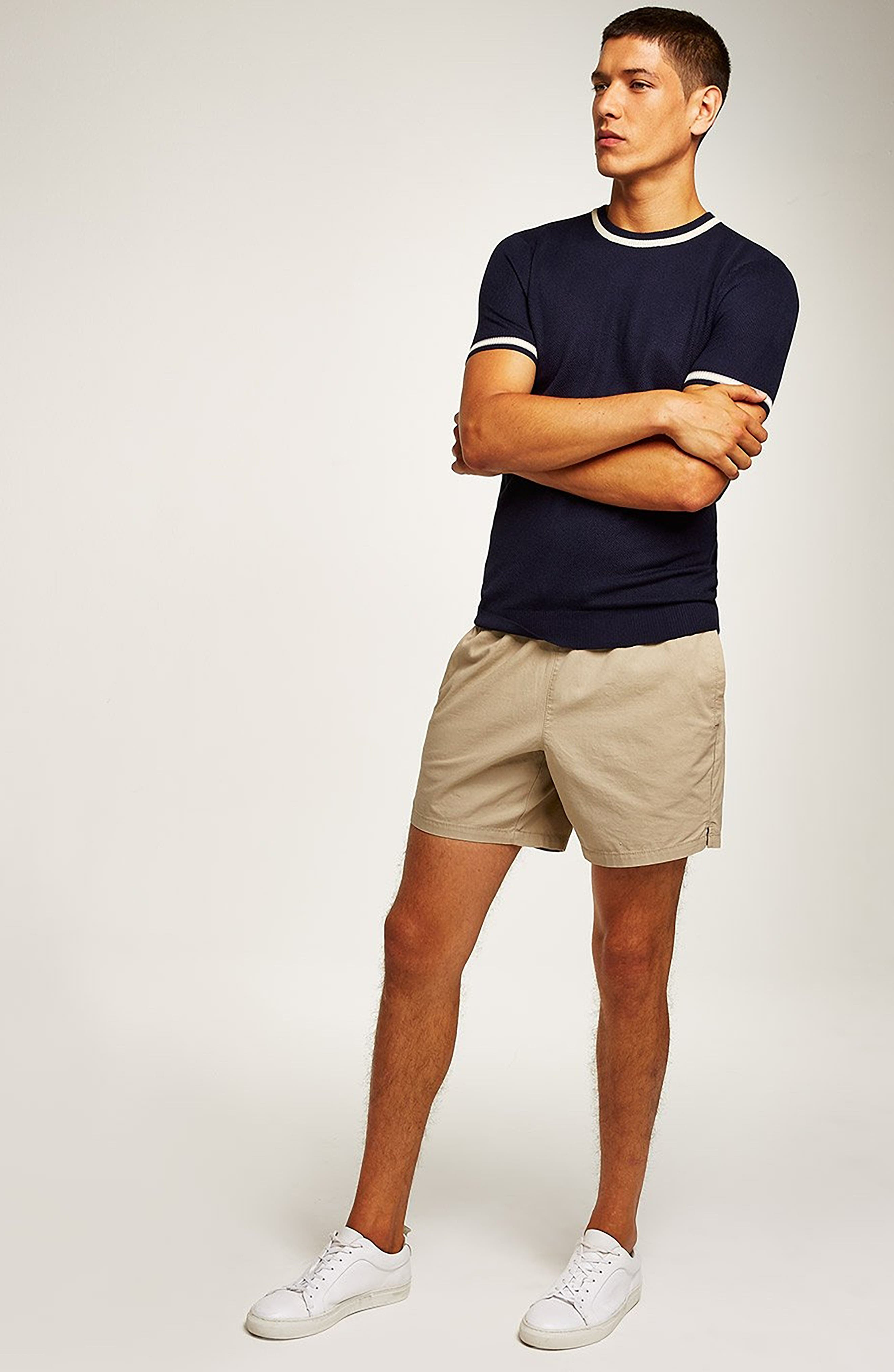 Tipping Classic Fit Short Sleeve Sweater,                             Alternate thumbnail 5, color,                             NAVY BLUE