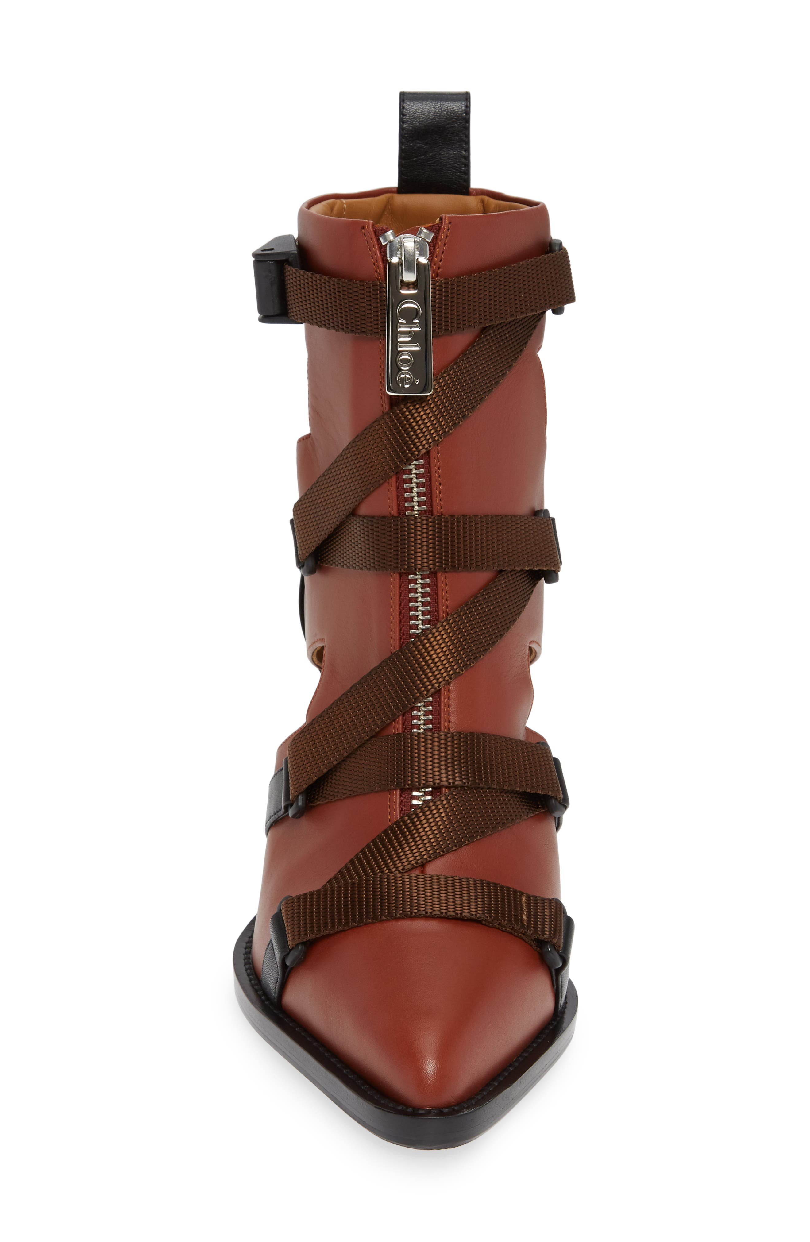 Tracy Strap Cutout Bootie,                             Alternate thumbnail 4, color,                             SEPIA BROWN