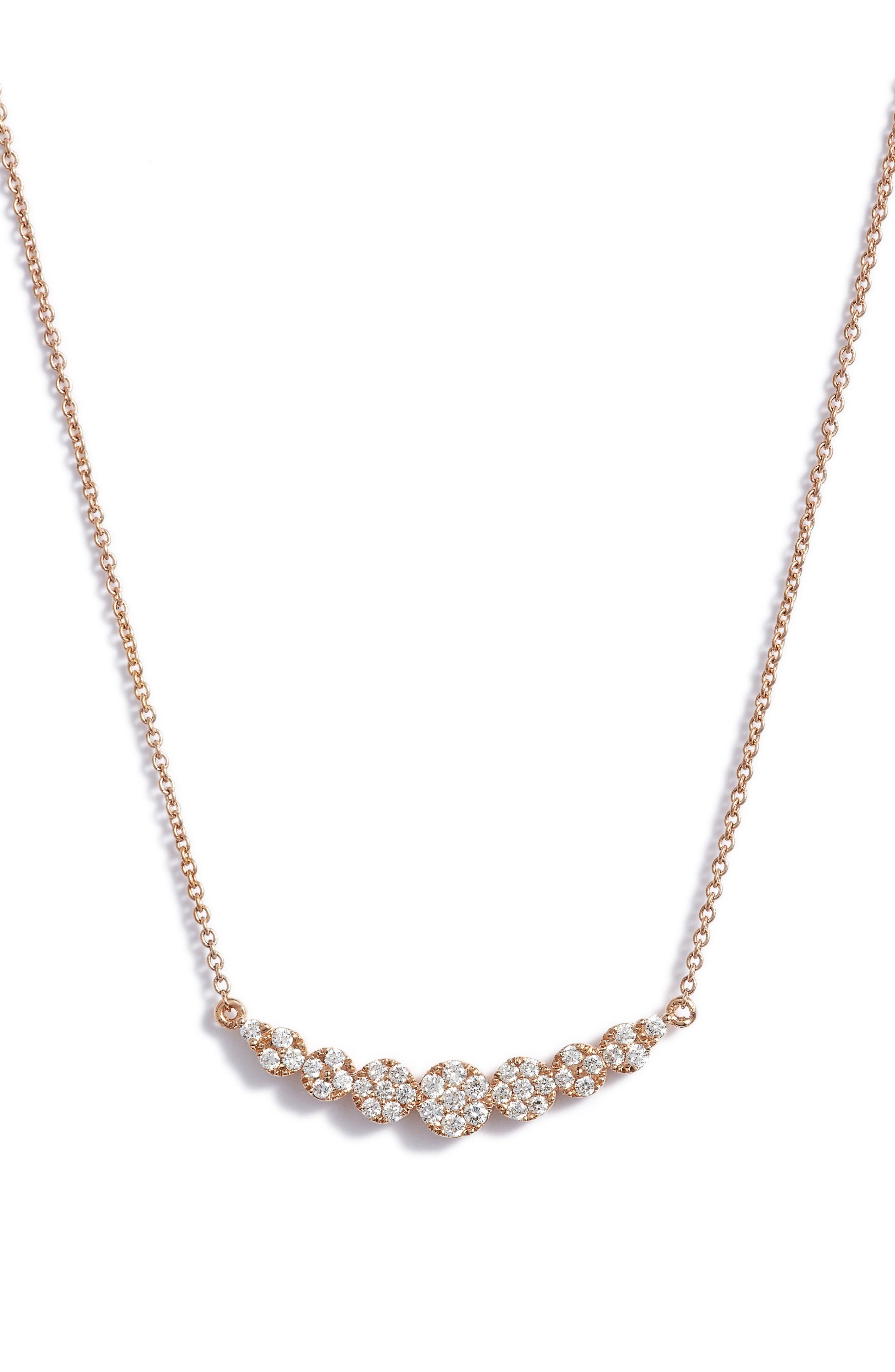 'Liora' Diamond Pendant Necklace,                             Alternate thumbnail 3, color,                             ROSE GOLD